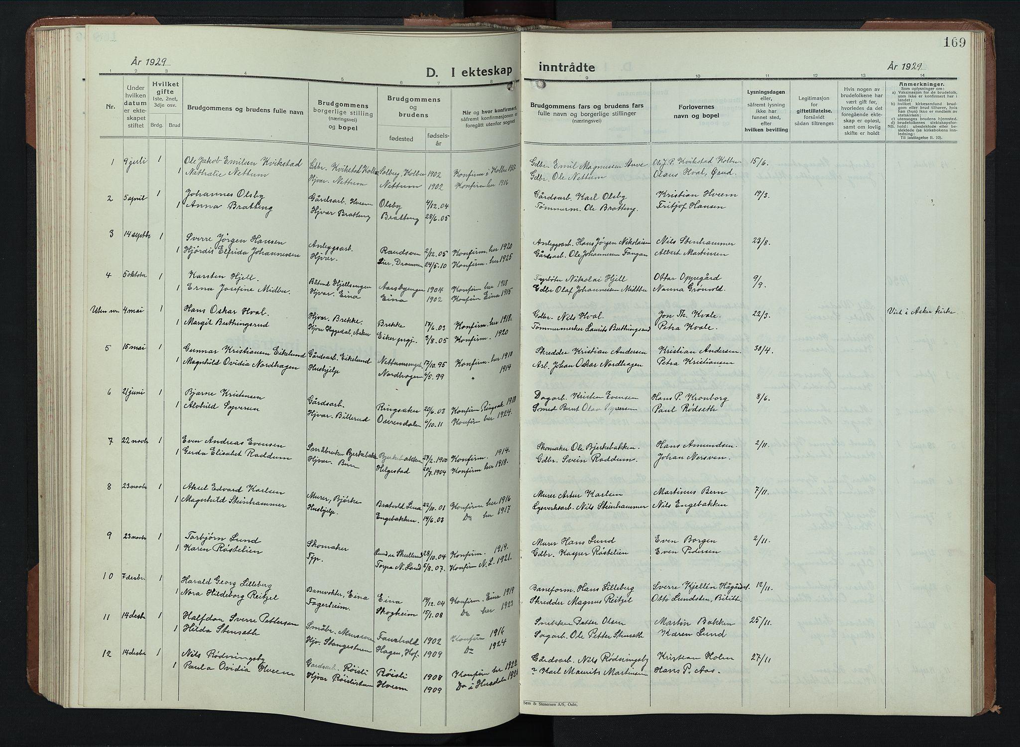 SAH, Balke prestekontor, Klokkerbok nr. 2, 1929-1951, s. 169