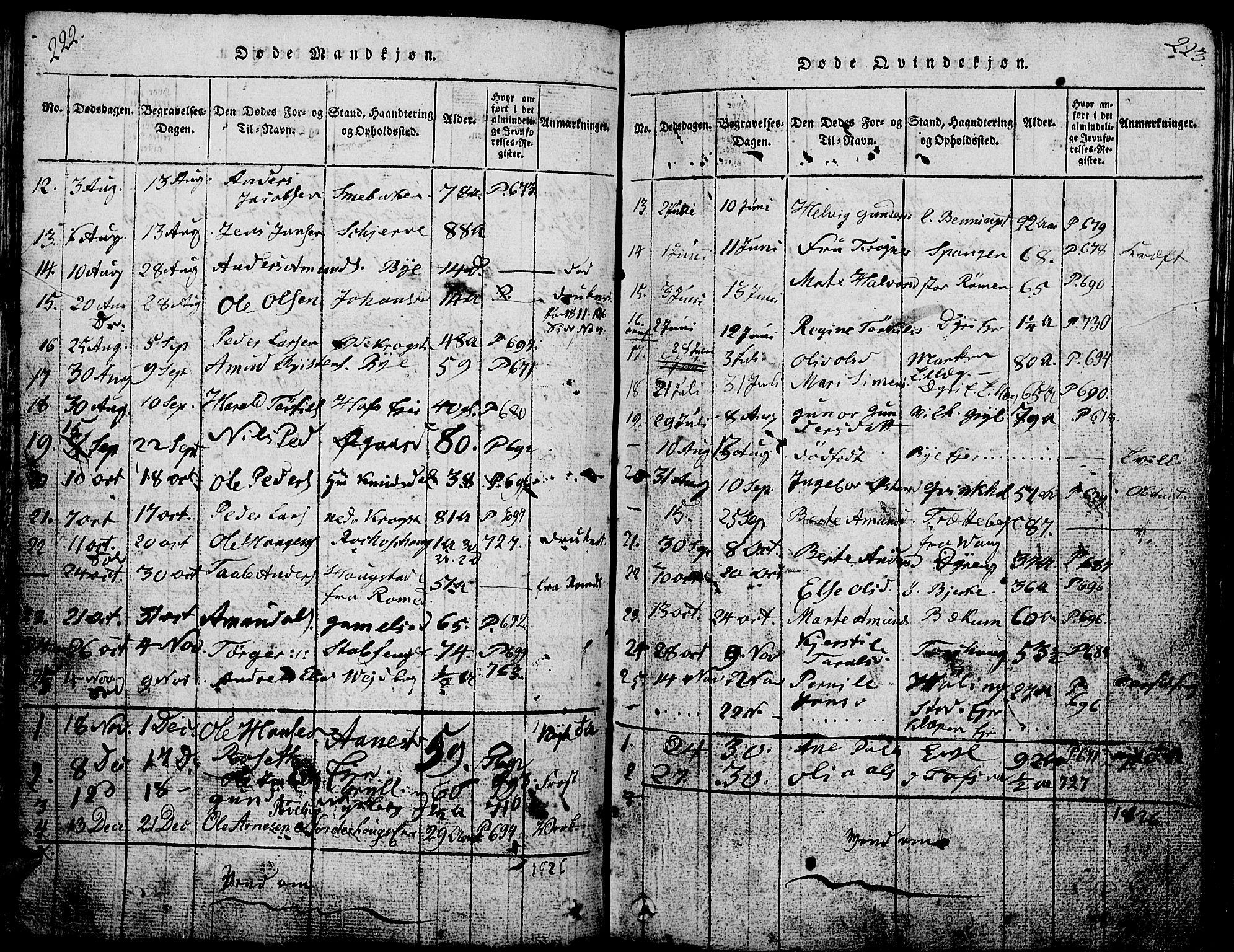 SAH, Løten prestekontor, L/La/L0001: Klokkerbok nr. 1, 1812-1832, s. 222-223
