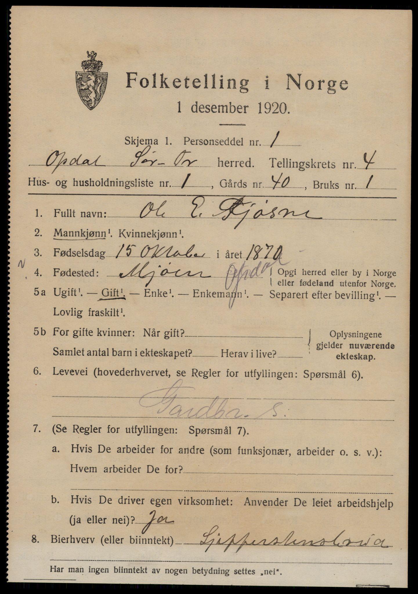 SAT, Folketelling 1920 for 1634 Oppdal herred, 1920, s. 4023