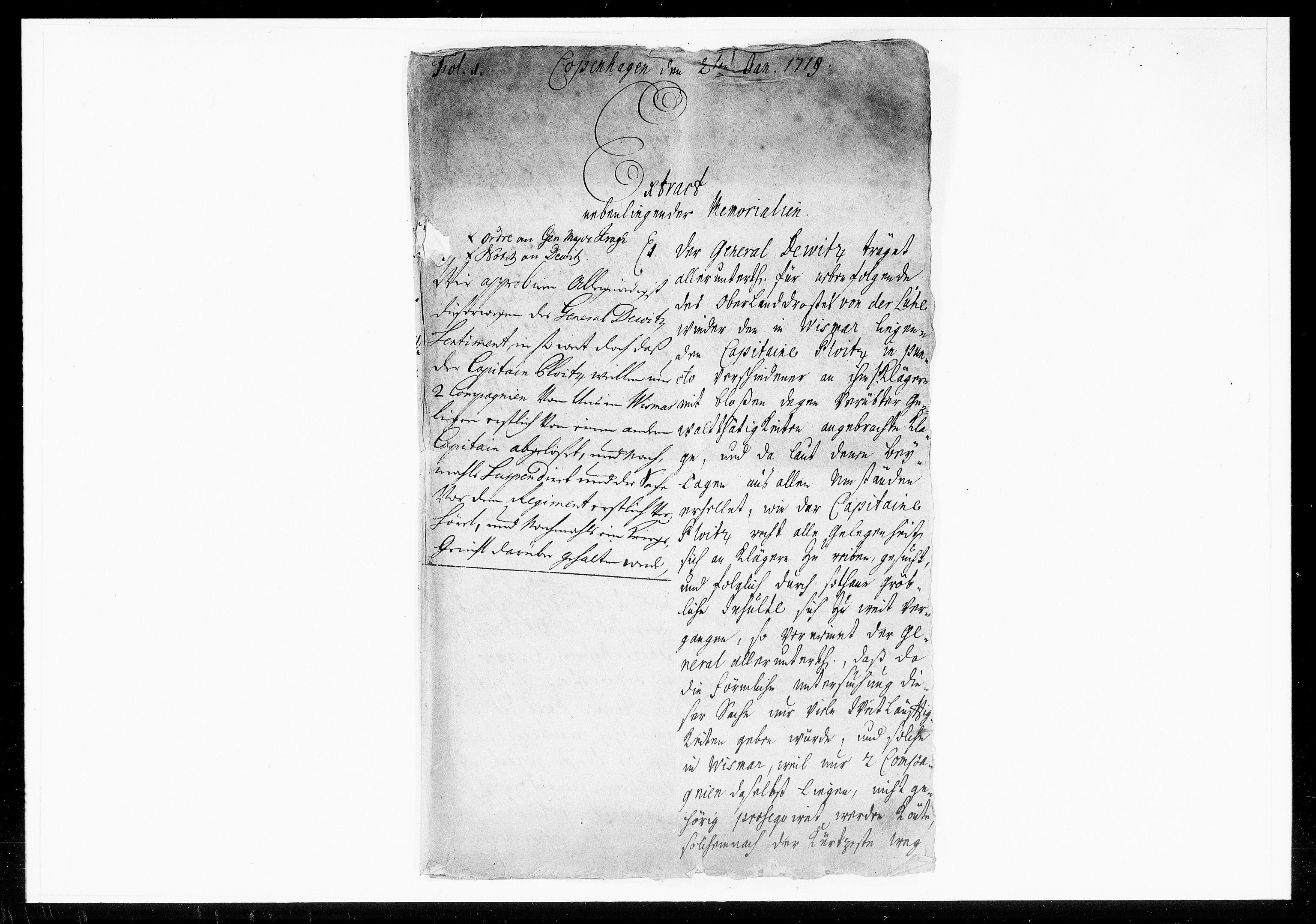 DRA, Krigskollegiet, Krigskancelliet, -/1052-1056: Refererede sager, 1719, s. 2