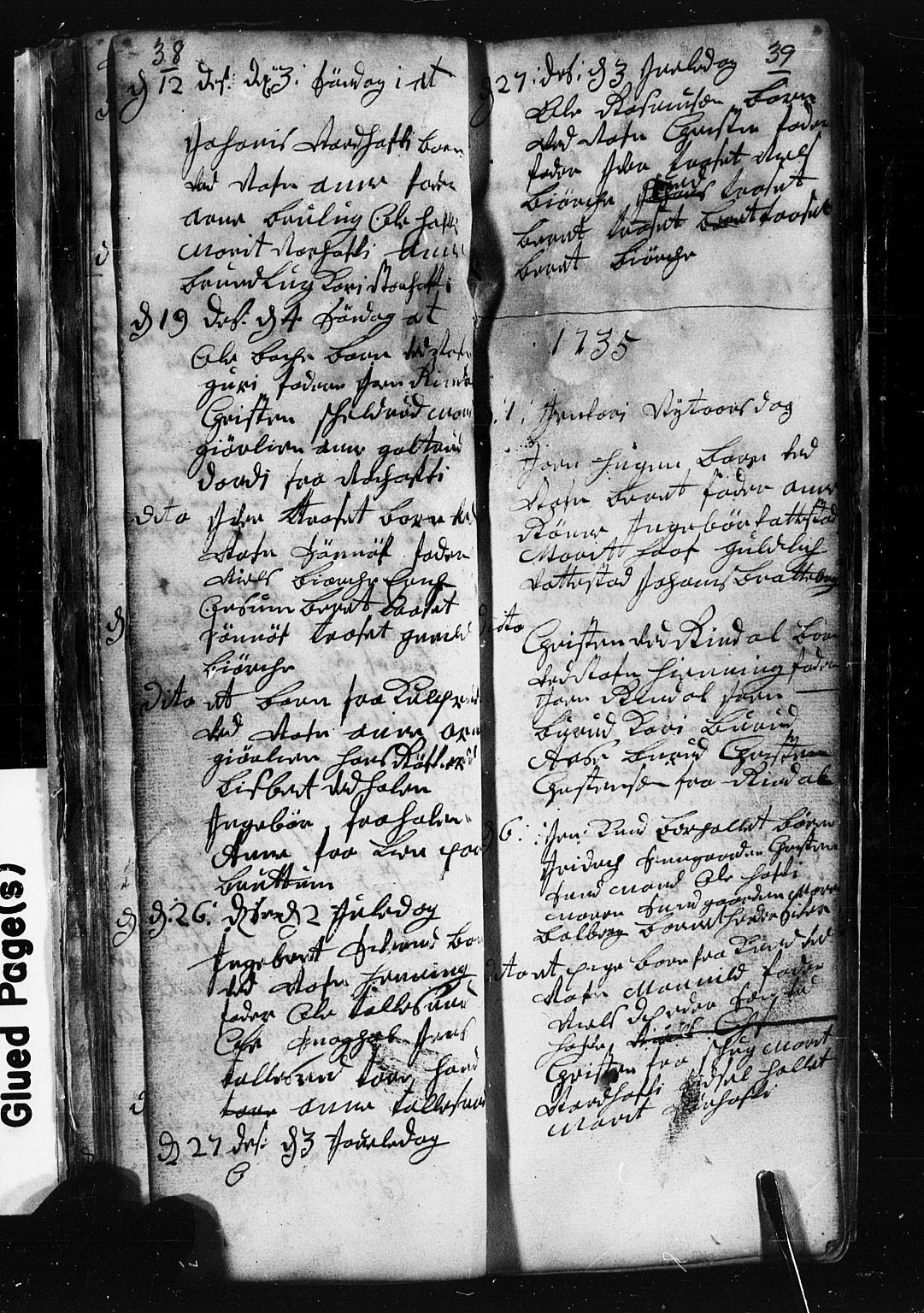 SAH, Fåberg prestekontor, Klokkerbok nr. 1, 1727-1767, s. 38-39
