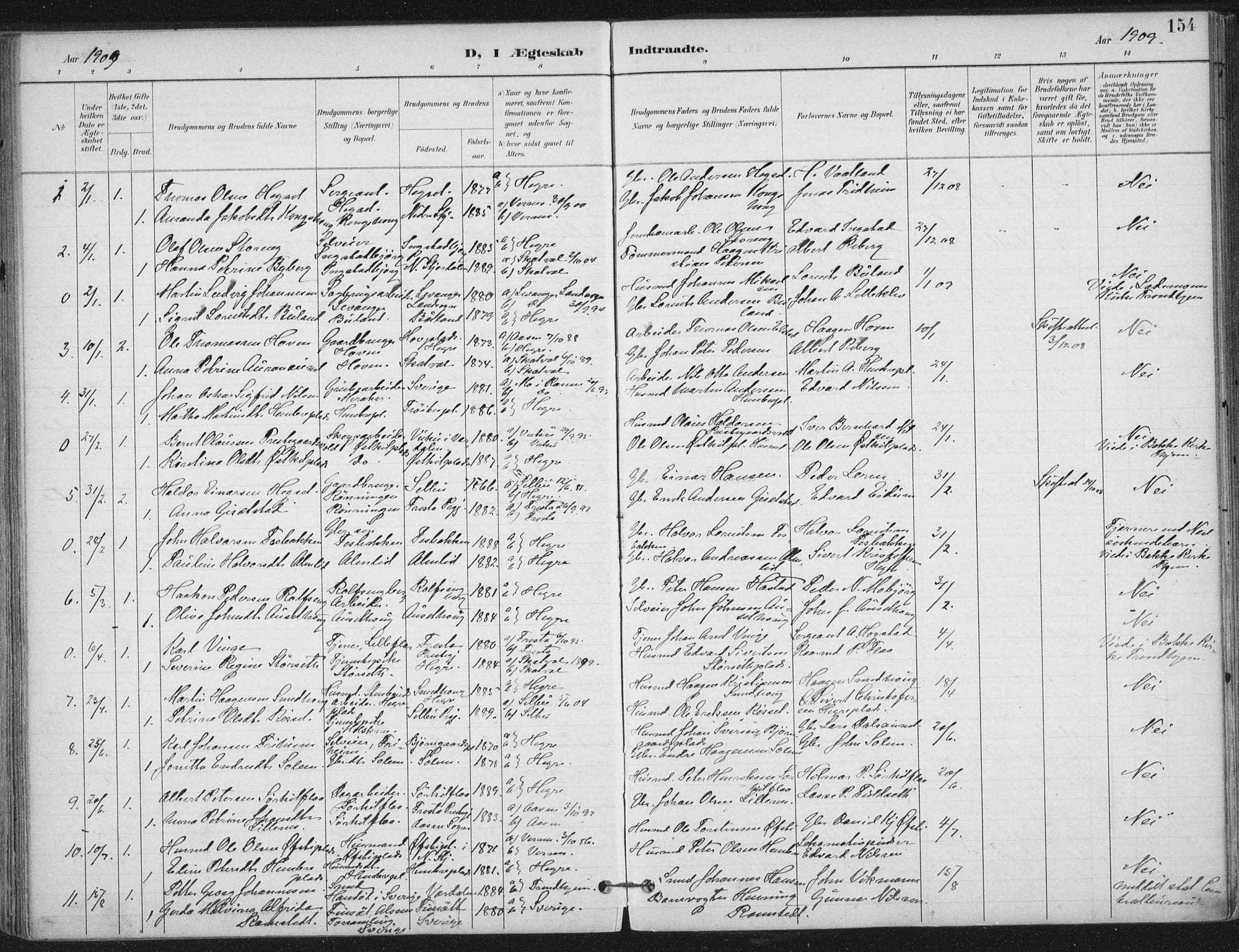 SAT, Ministerialprotokoller, klokkerbøker og fødselsregistre - Nord-Trøndelag, 703/L0031: Ministerialbok nr. 703A04, 1893-1914, s. 154