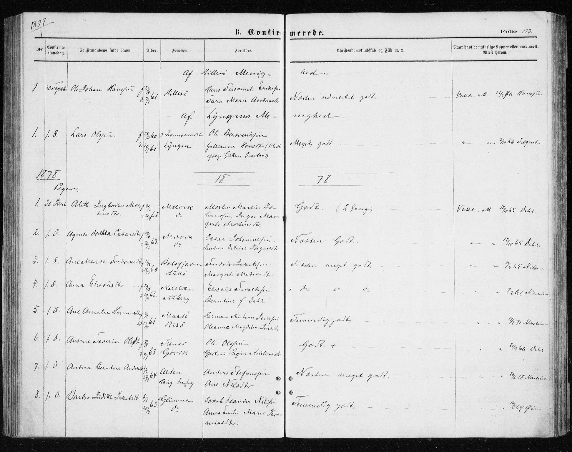 SATØ, Tromsøysund sokneprestkontor, G/Ga/L0003kirke: Ministerialbok nr. 3, 1875-1880, s. 113