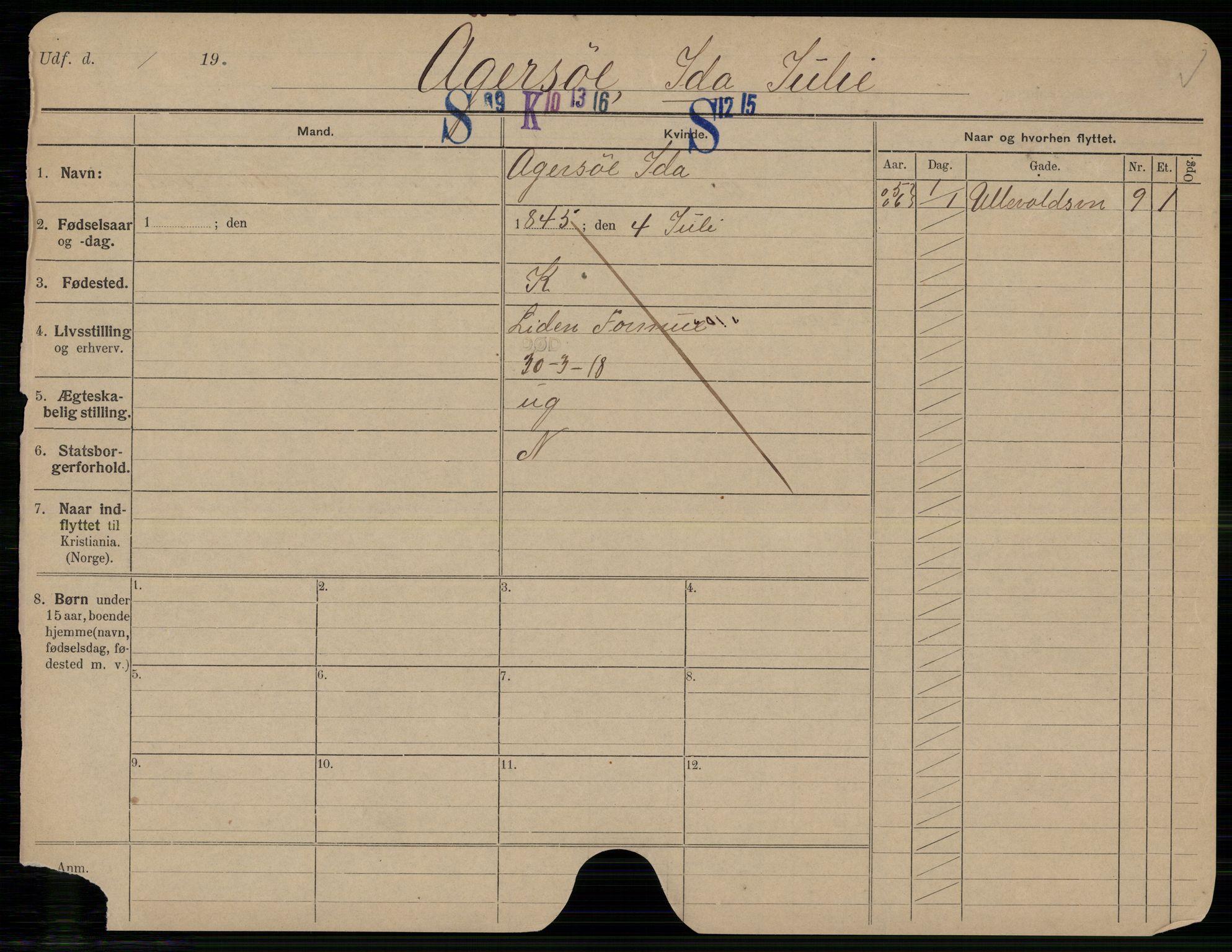 SAO, Oslo folkeregister, Registerkort, G/Gb/L0026: Kvinner, 1918