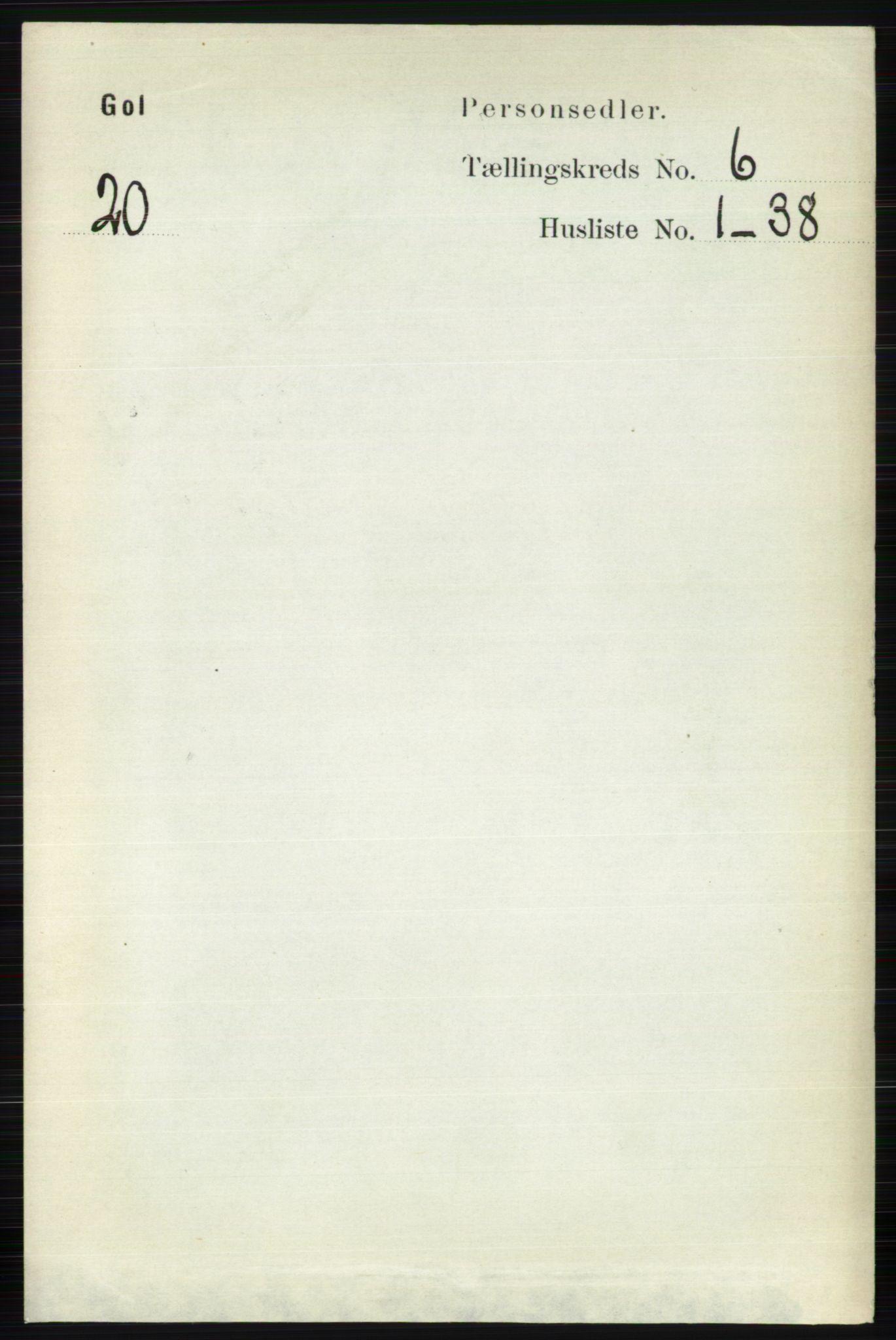 RA, Folketelling 1891 for 0617 Gol og Hemsedal herred, 1891, s. 2421
