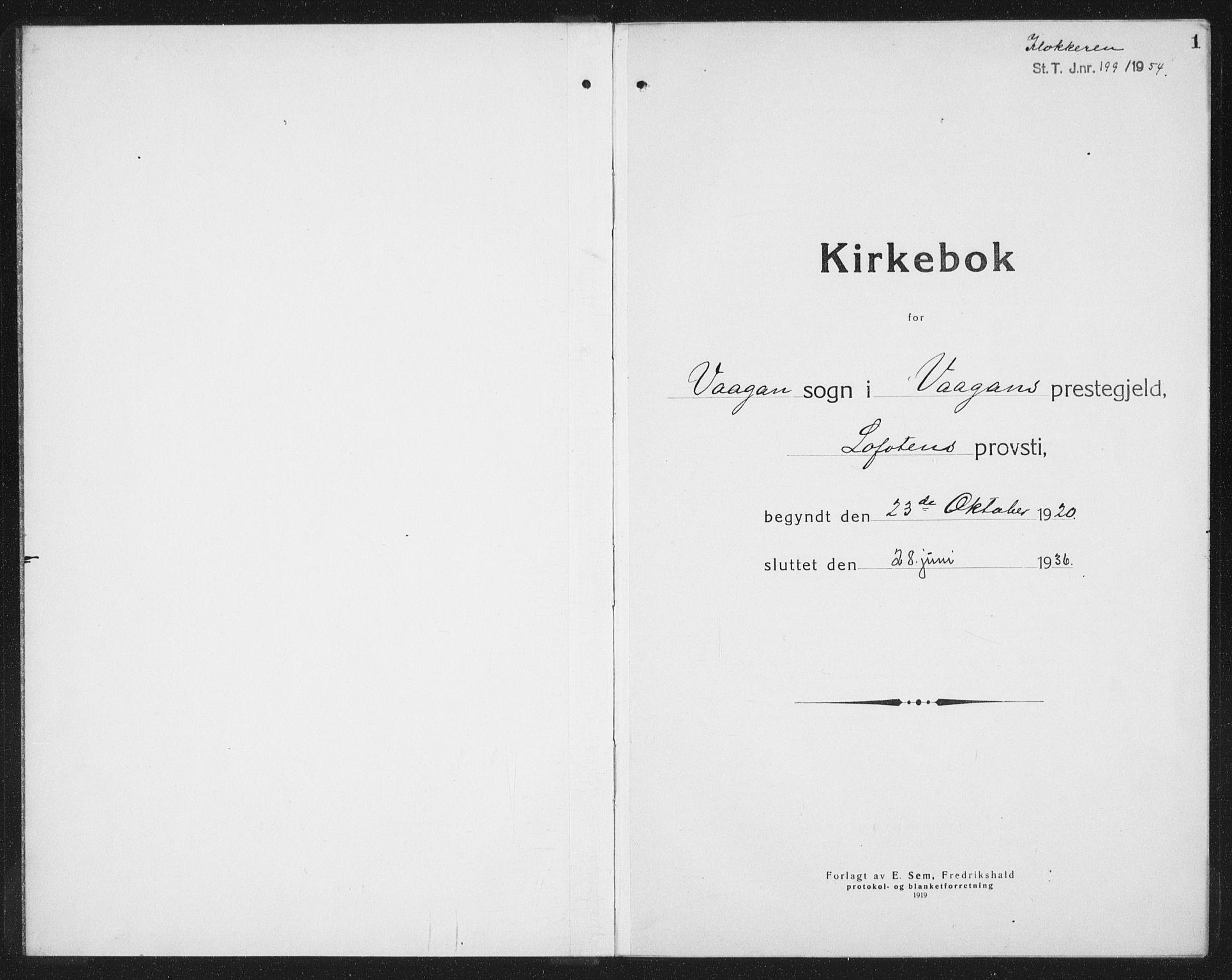 SAT, Ministerialprotokoller, klokkerbøker og fødselsregistre - Nordland, 874/L1083: Klokkerbok nr. 874C12, 1920-1936, s. 1
