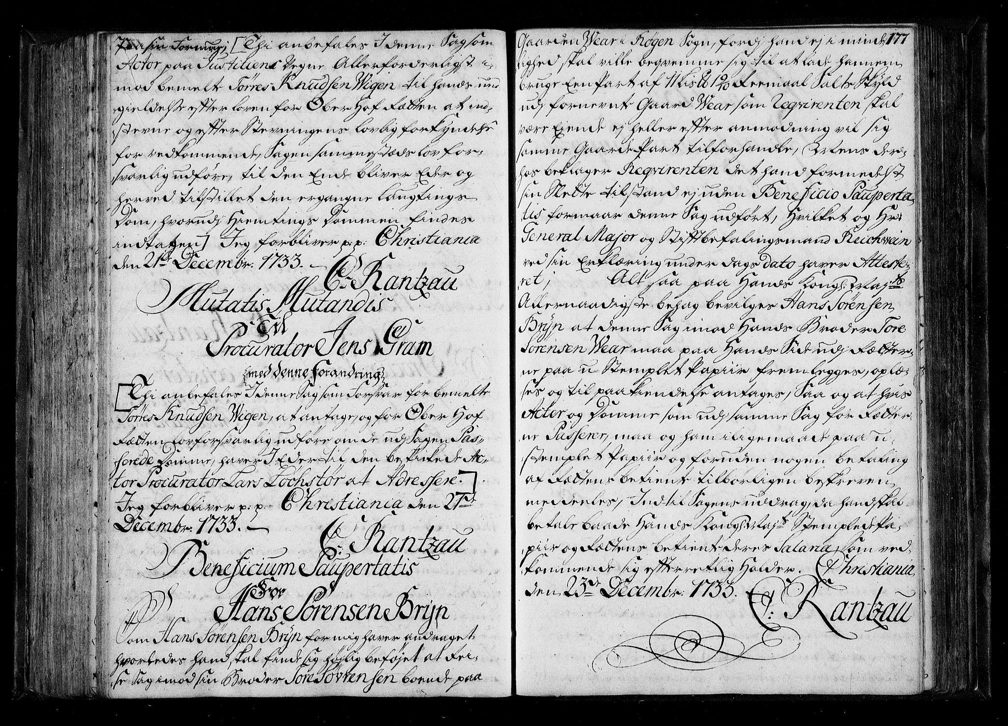 RA, Stattholderembetet 1572-1771, Be/L0011: Kopibok for beneficia paupertatis, 1726-1739, s. 176b-177a