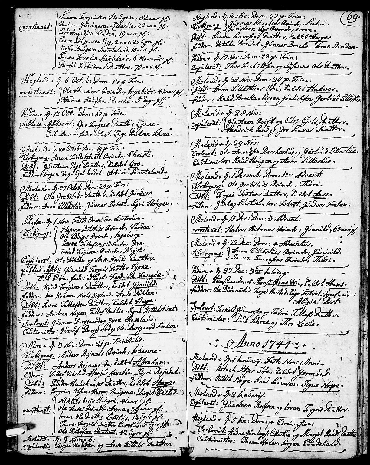 SAKO, Fyresdal kirkebøker, F/Fa/L0001: Ministerialbok nr. I 1, 1724-1748, s. 69