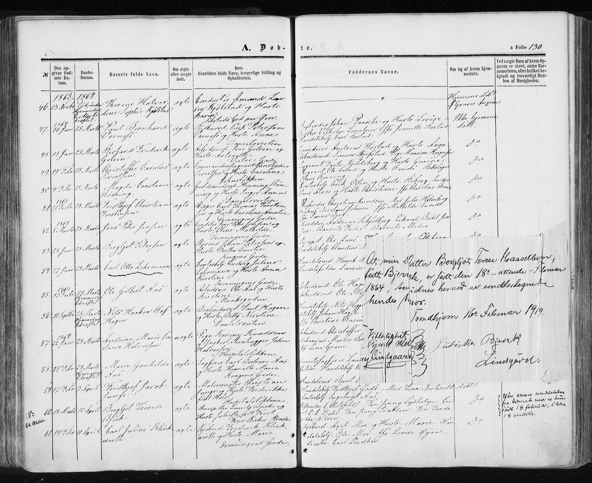 SAT, Ministerialprotokoller, klokkerbøker og fødselsregistre - Sør-Trøndelag, 601/L0053: Ministerialbok nr. 601A21, 1857-1865, s. 130