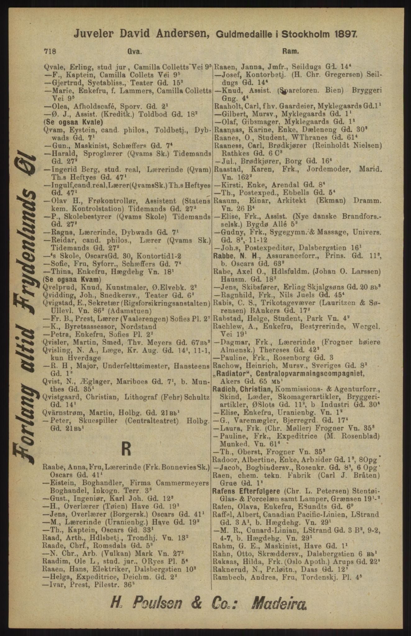 RA, Kristiania adressebok (publikasjon)*, 1904, s. 718