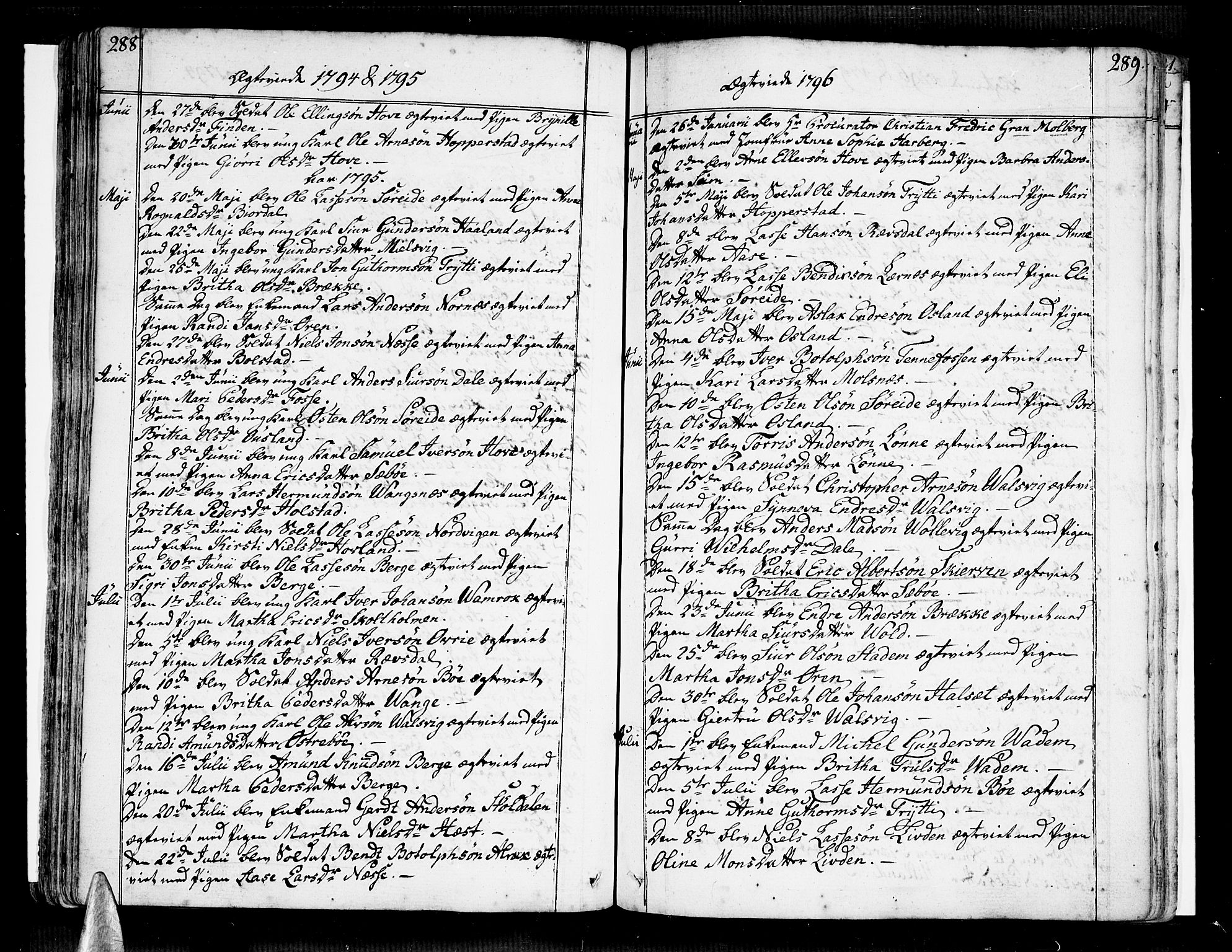 SAB, Vik Sokneprestembete, Ministerialbok nr. A 5, 1787-1820, s. 288-289