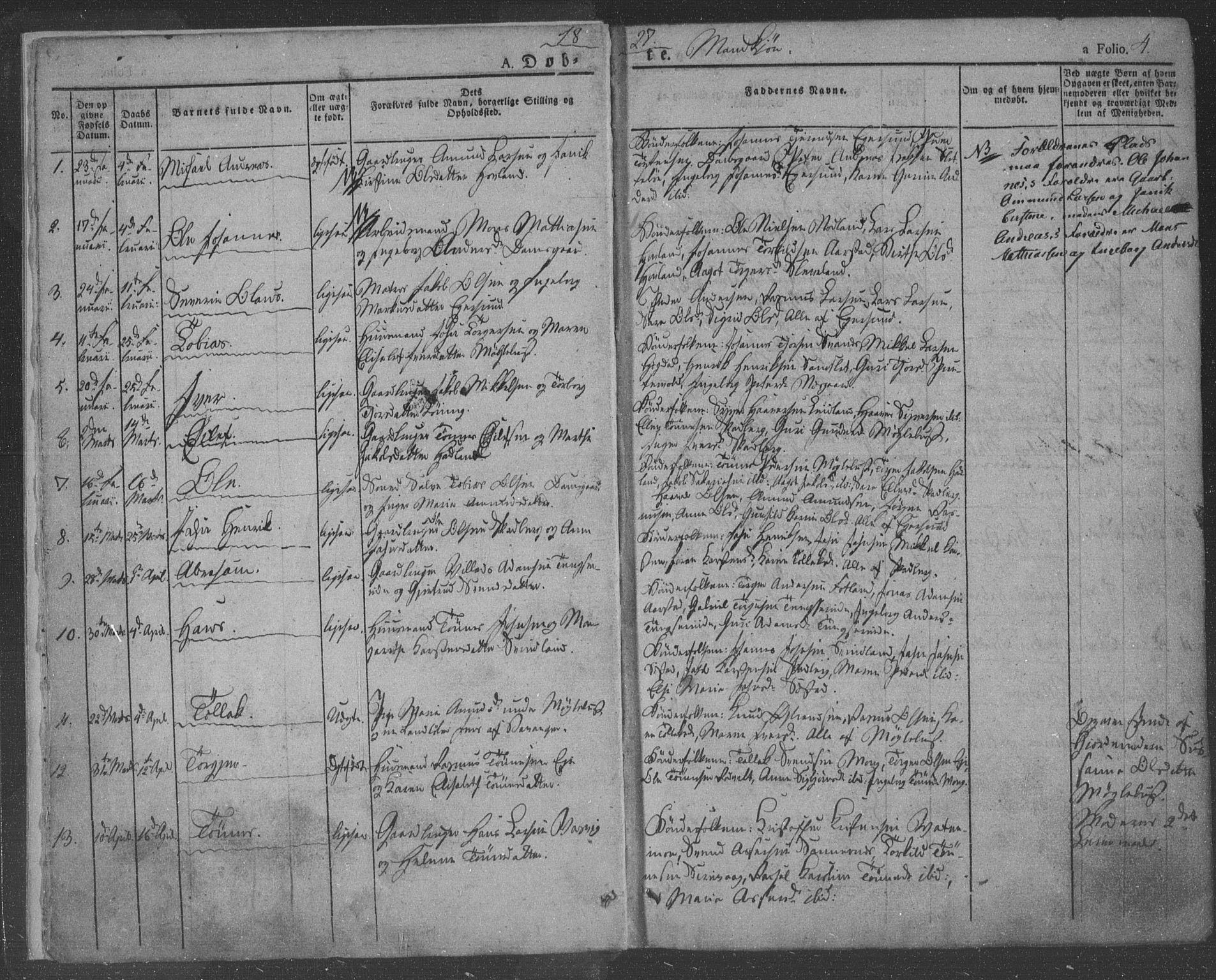SAST, Egersund sokneprestkontor, Ministerialbok nr. A 9, 1827-1850, s. 4