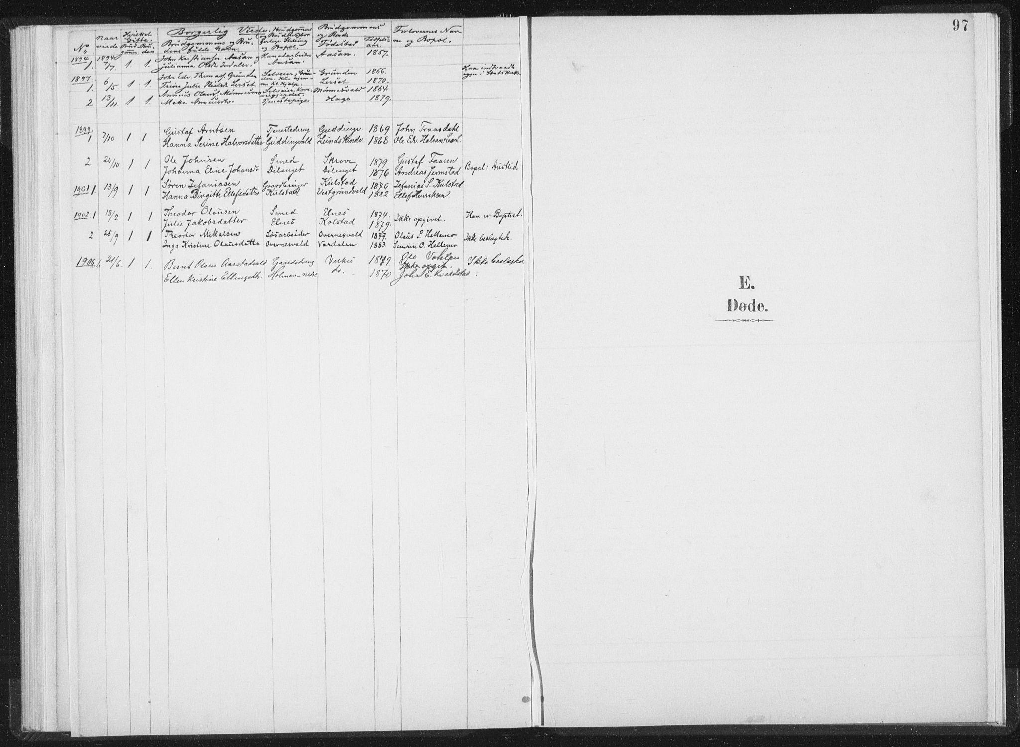 SAT, Ministerialprotokoller, klokkerbøker og fødselsregistre - Nord-Trøndelag, 724/L0263: Ministerialbok nr. 724A01, 1891-1907, s. 97
