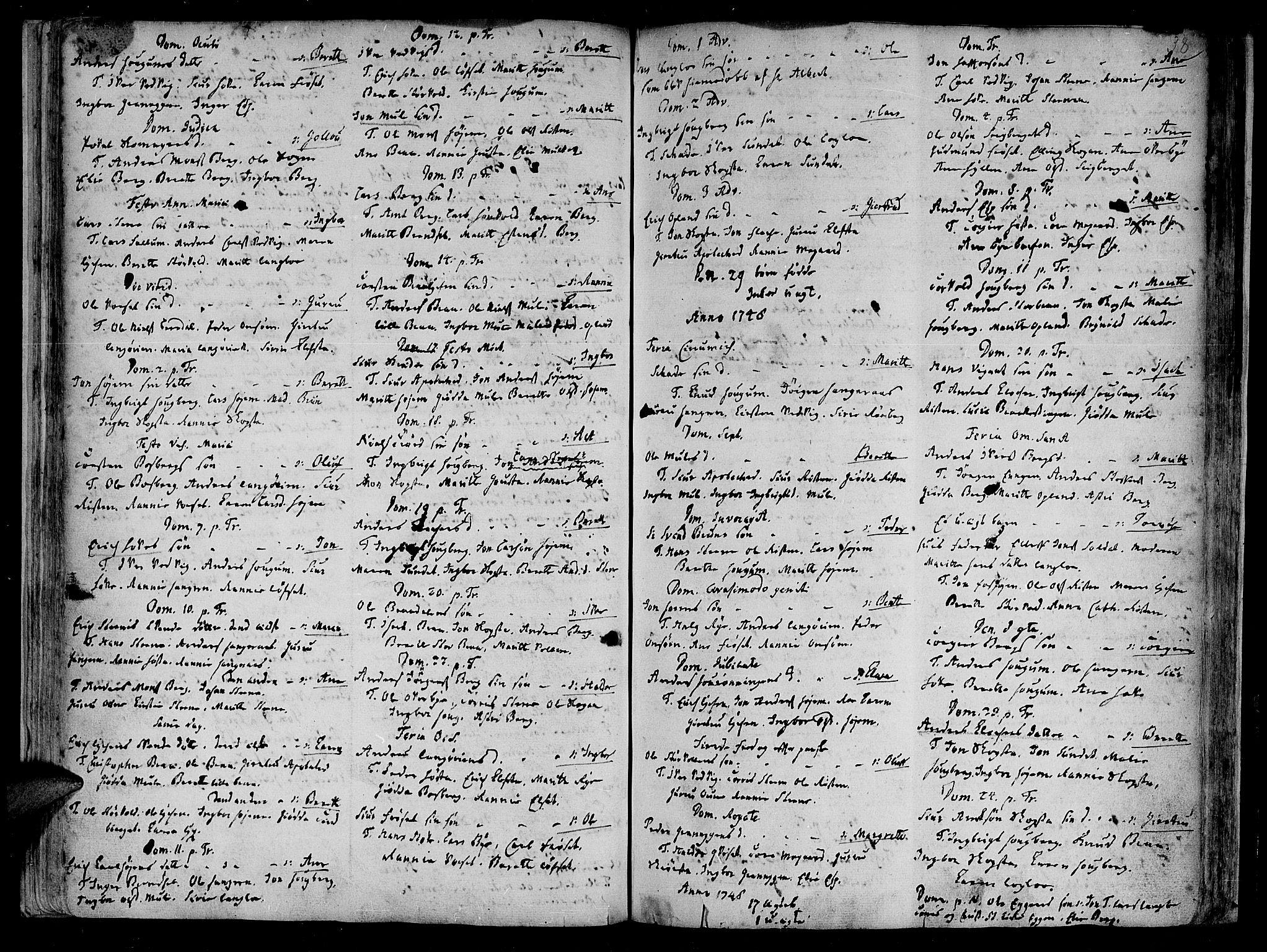 SAT, Ministerialprotokoller, klokkerbøker og fødselsregistre - Sør-Trøndelag, 612/L0368: Ministerialbok nr. 612A02, 1702-1753, s. 38