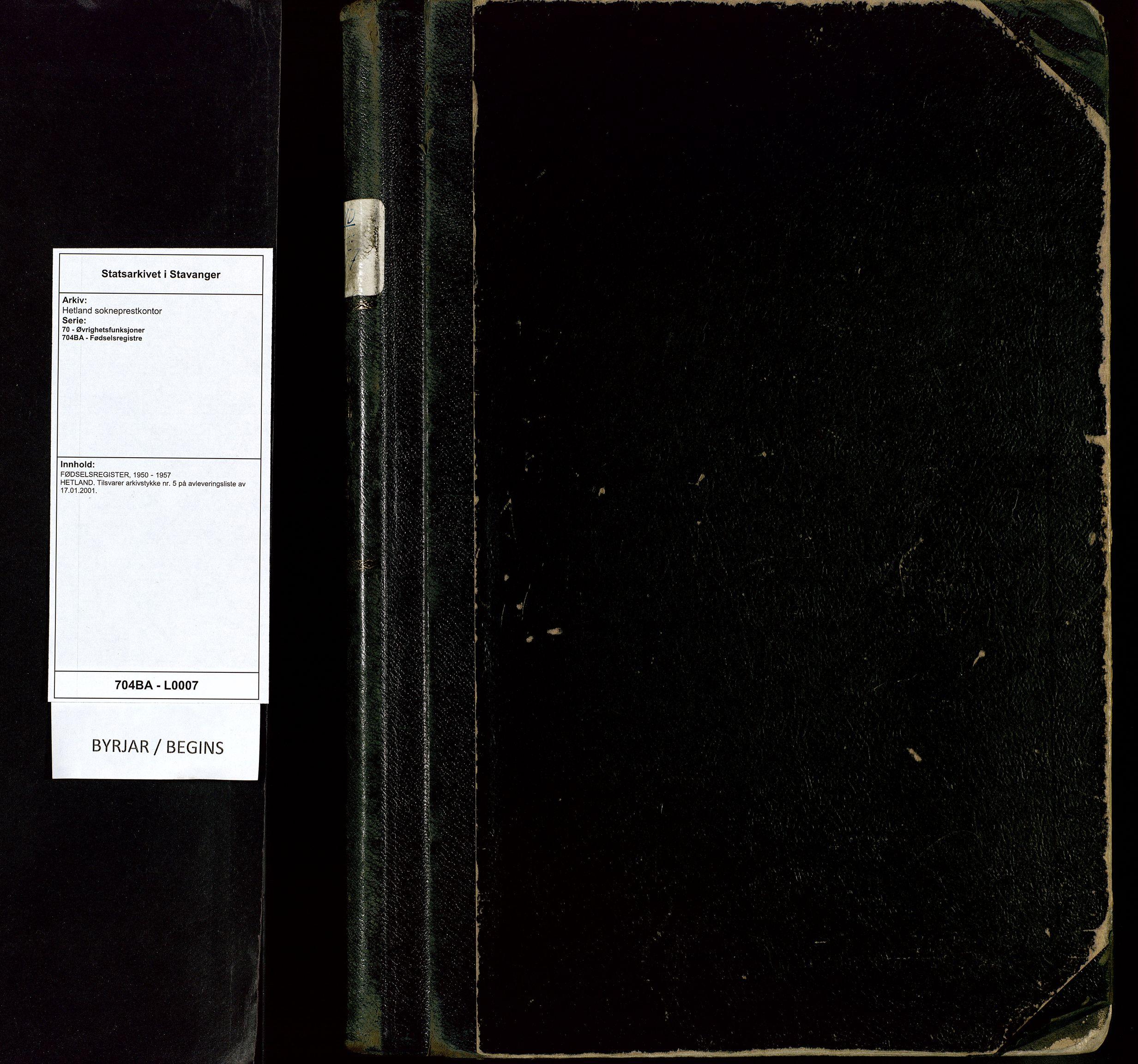 SAST, Hetland sokneprestkontor, 70/704BA/L0007: Fødselsregister nr. 7, 1950-1957