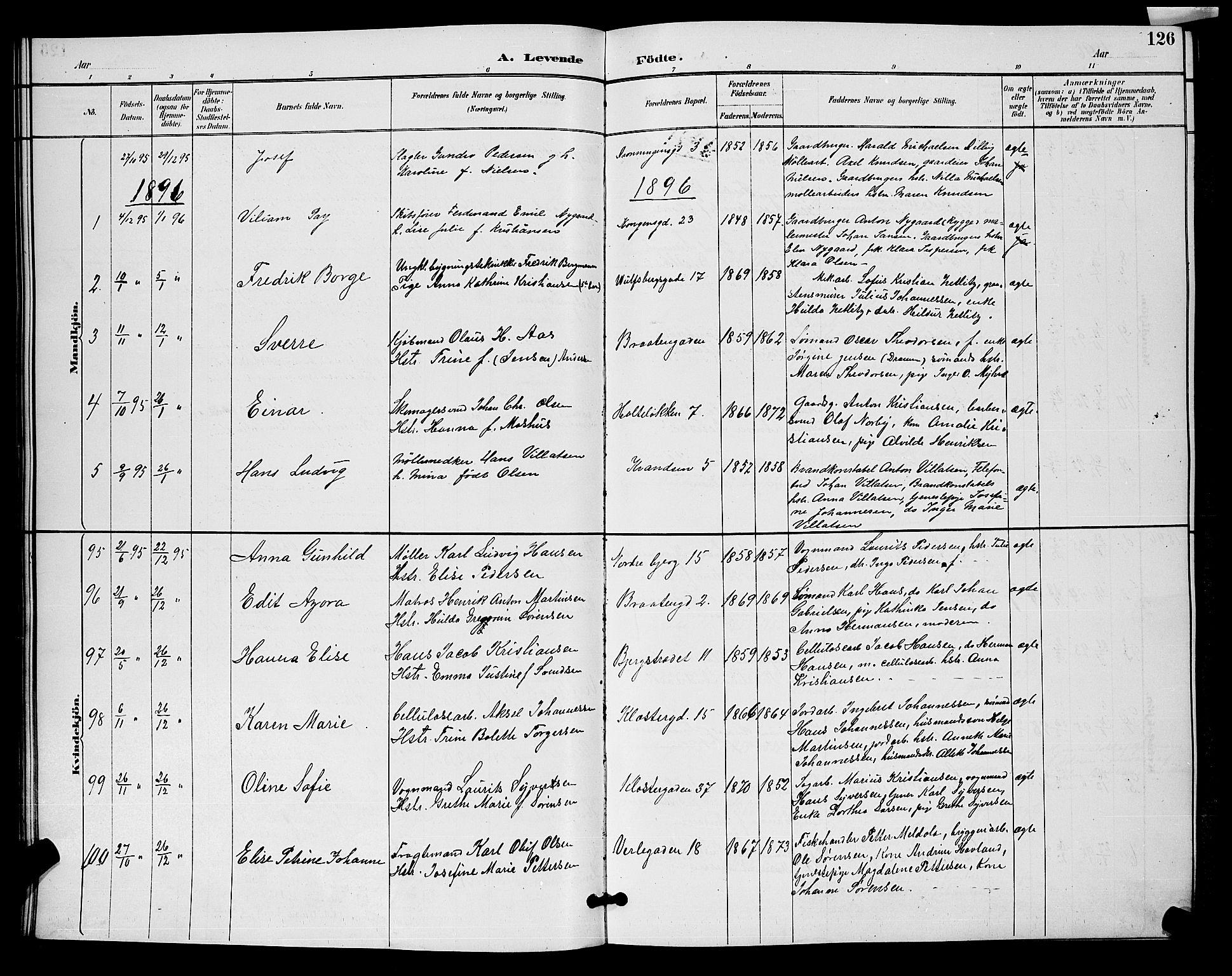 SAO, Moss prestekontor Kirkebøker, G/Ga/L0006: Klokkerbok nr. I 6, 1889-1900, s. 126