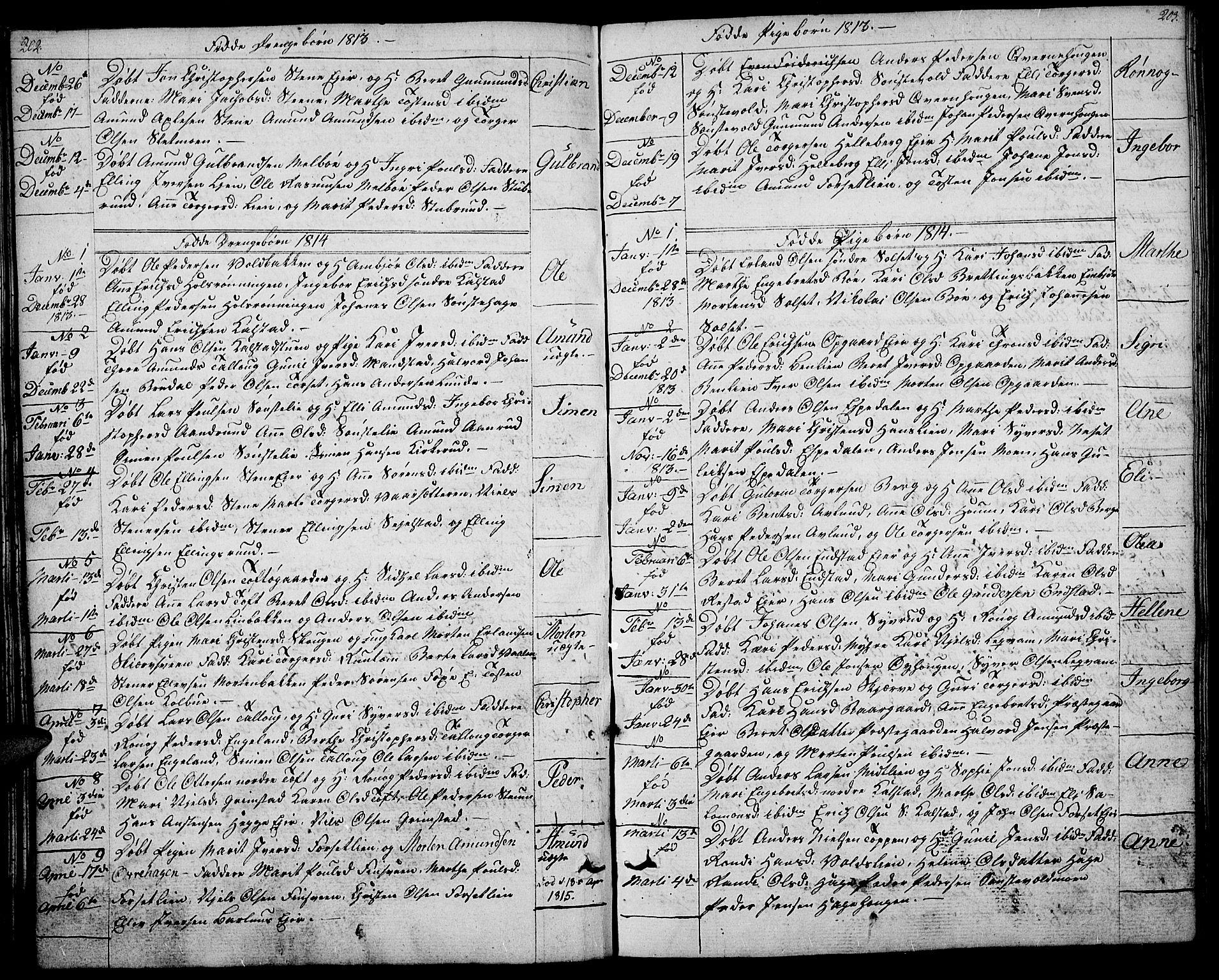 SAH, Gausdal prestekontor, Ministerialbok nr. 4, 1809-1817, s. 202-203