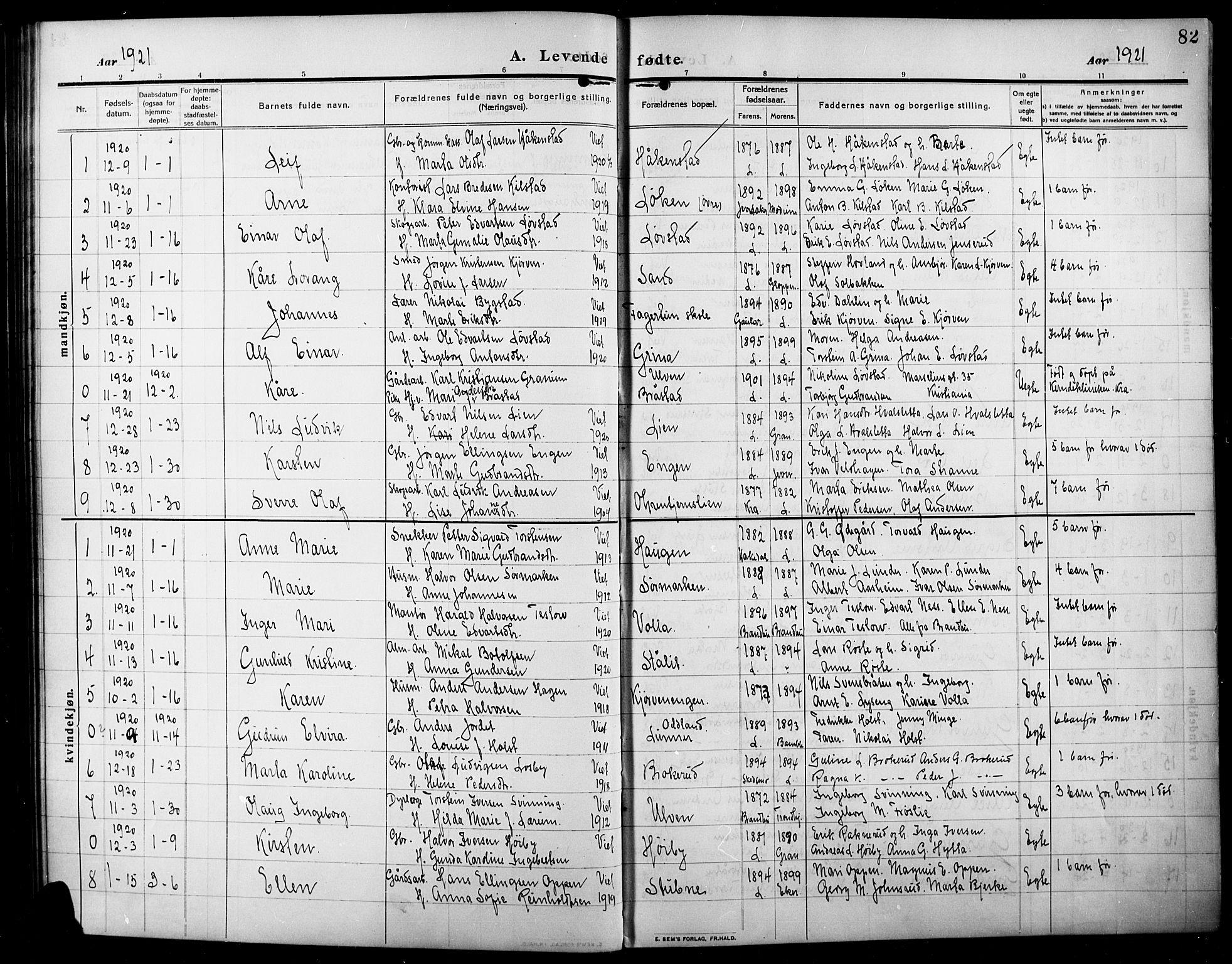 SAH, Lunner prestekontor, H/Ha/Hab/L0001: Klokkerbok nr. 1, 1909-1922, s. 82