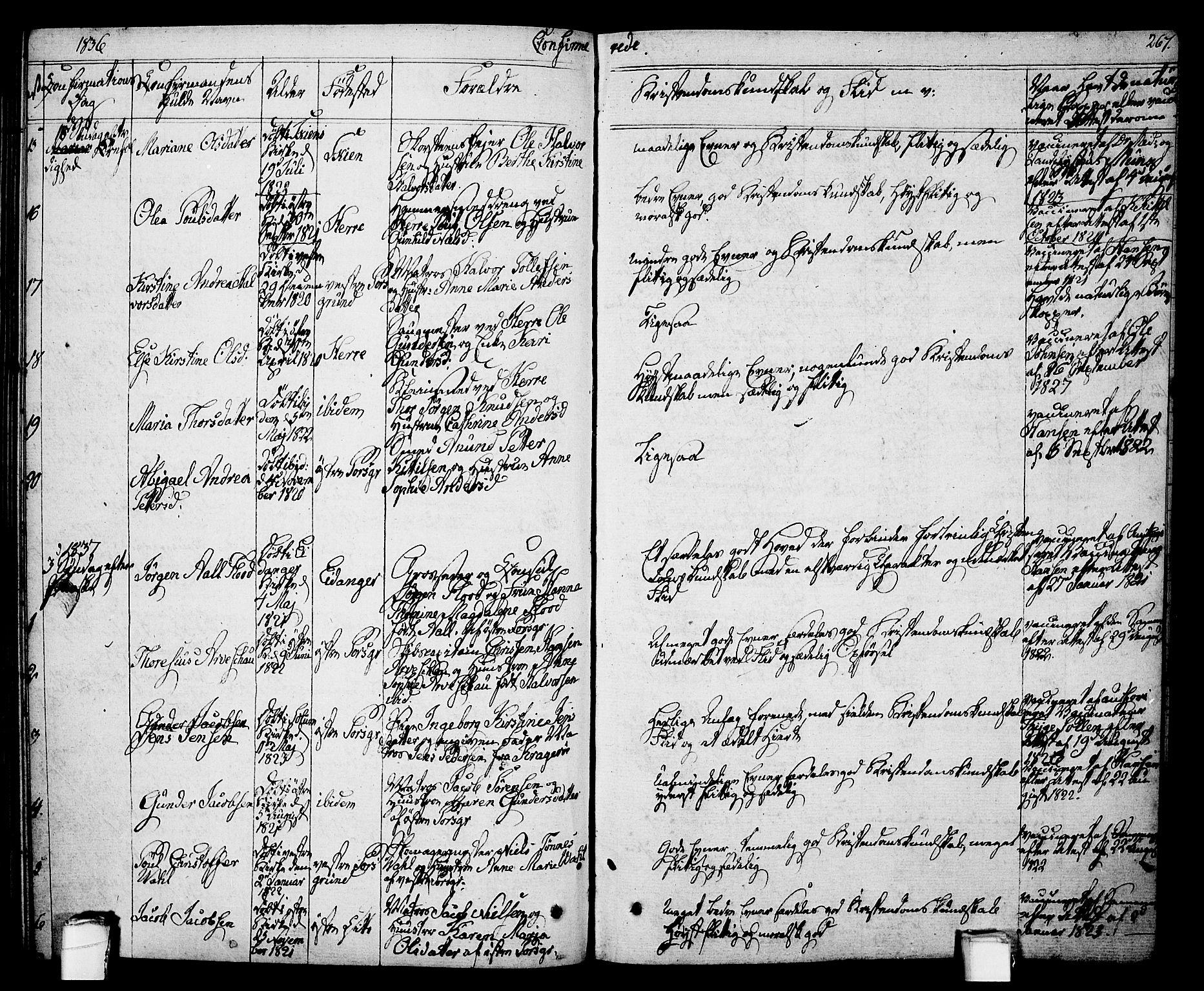 SAKO, Porsgrunn kirkebøker , F/Fa/L0005: Ministerialbok nr. 5, 1828-1840, s. 267