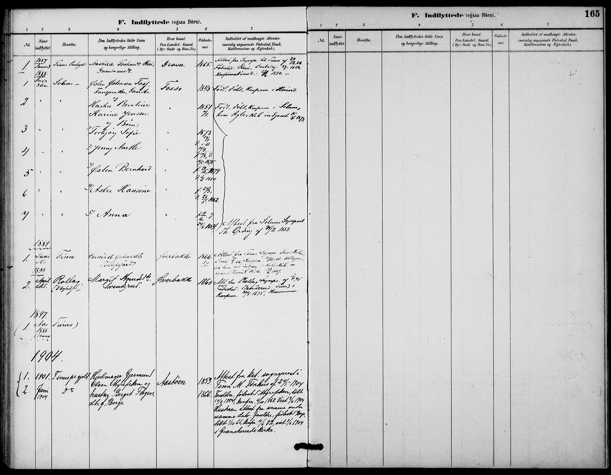 SAKO, Gransherad kirkebøker, F/Fb/L0005: Ministerialbok nr. II 5, 1887-1916, s. 165