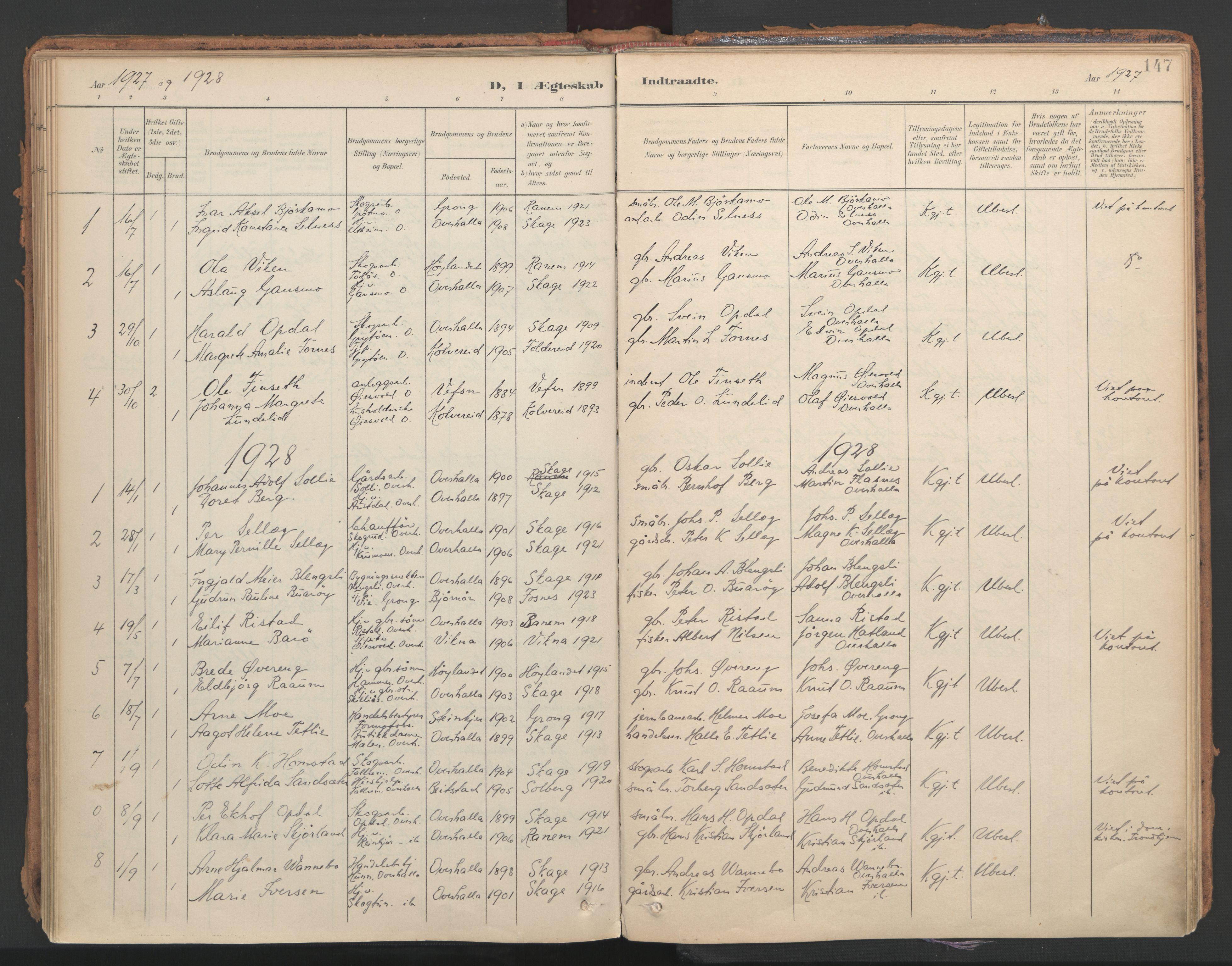 SAT, Ministerialprotokoller, klokkerbøker og fødselsregistre - Nord-Trøndelag, 766/L0564: Ministerialbok nr. 767A02, 1900-1932, s. 147