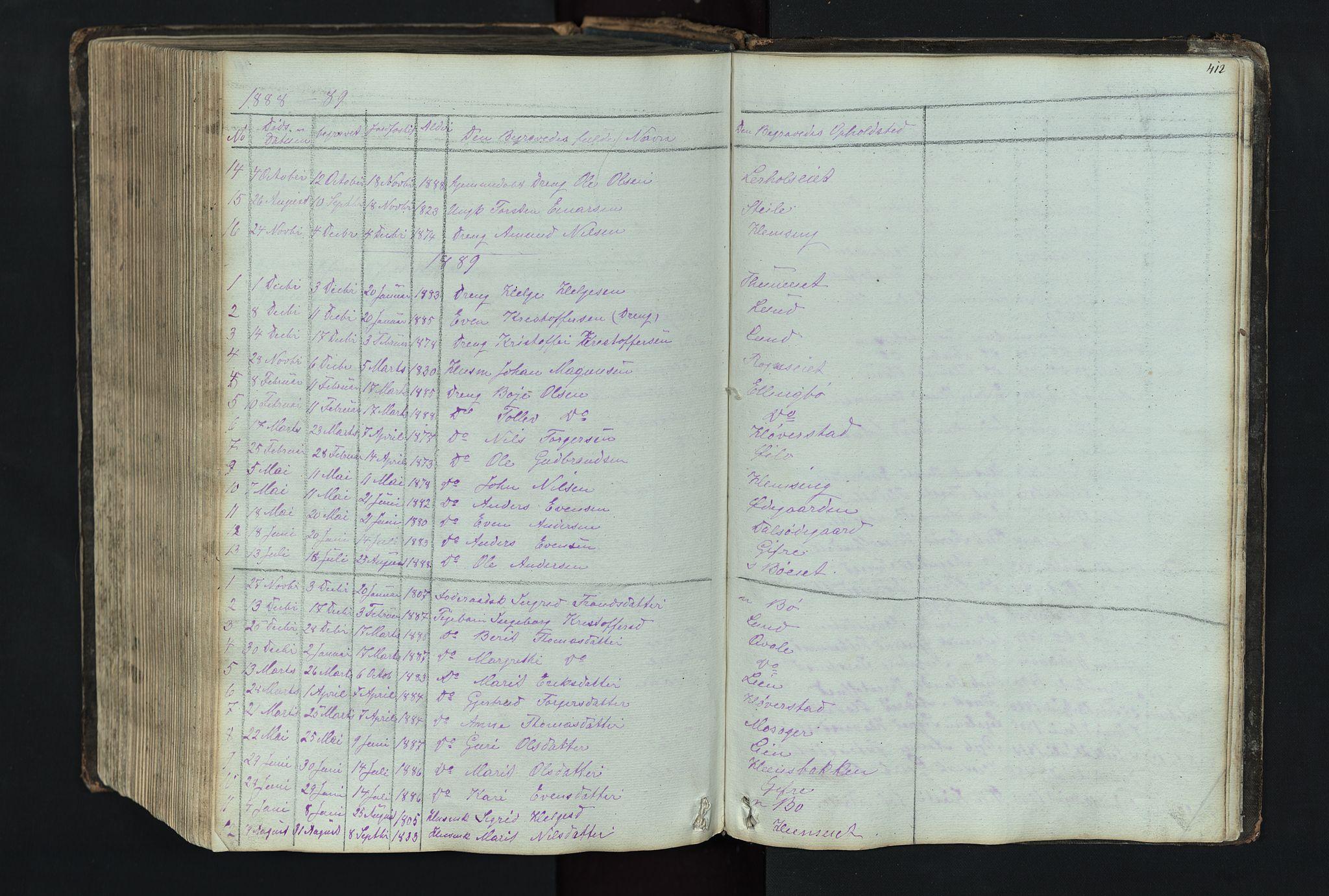SAH, Vang prestekontor, Valdres, Klokkerbok nr. 4, 1835-1892, s. 412