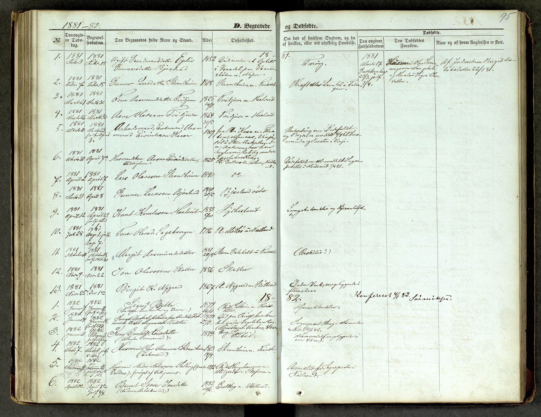 SAKO, Lårdal kirkebøker, G/Ga/L0002: Klokkerbok nr. I 2, 1861-1890, s. 95