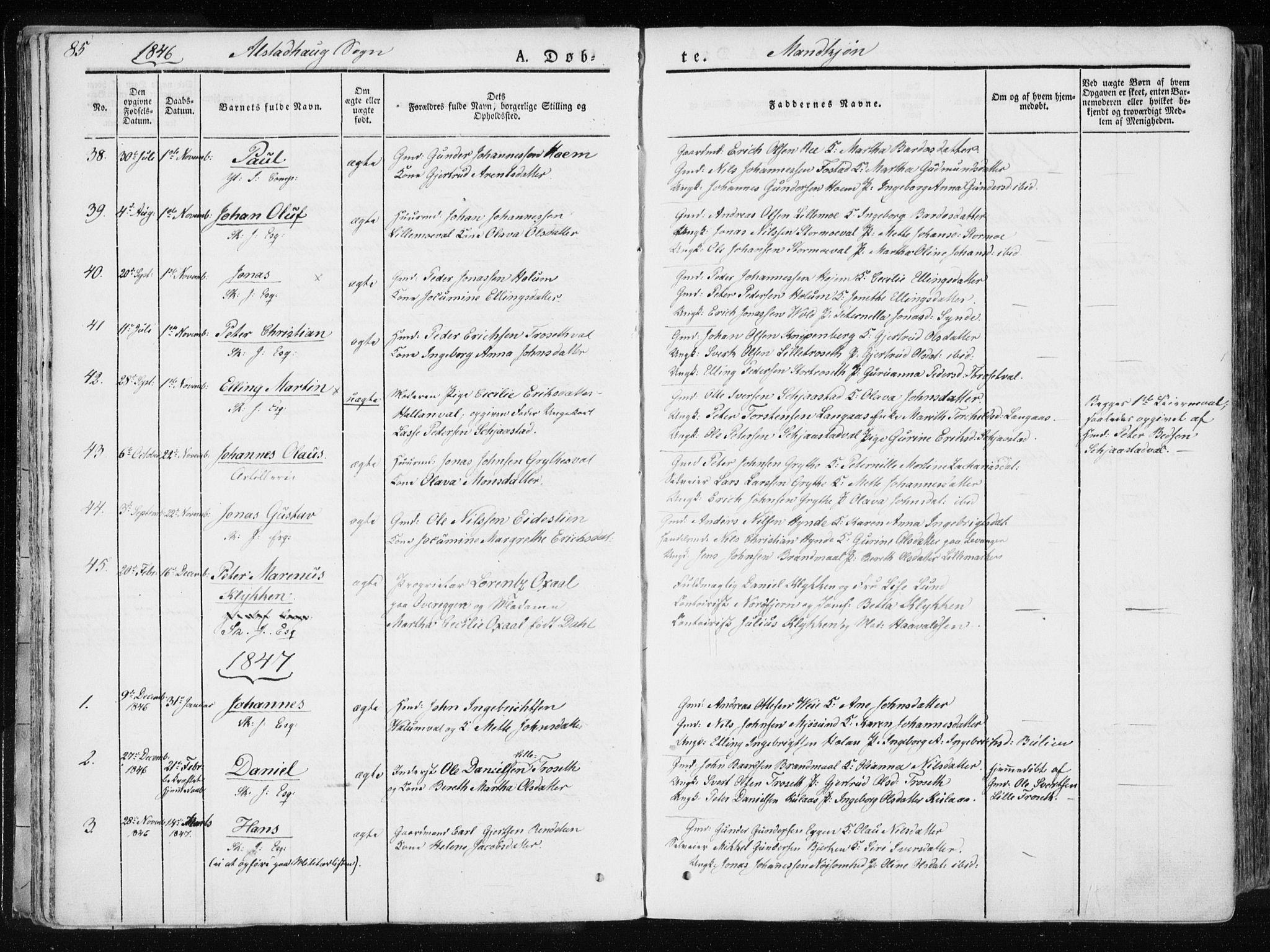 SAT, Ministerialprotokoller, klokkerbøker og fødselsregistre - Nord-Trøndelag, 717/L0154: Ministerialbok nr. 717A06 /1, 1836-1849, s. 85