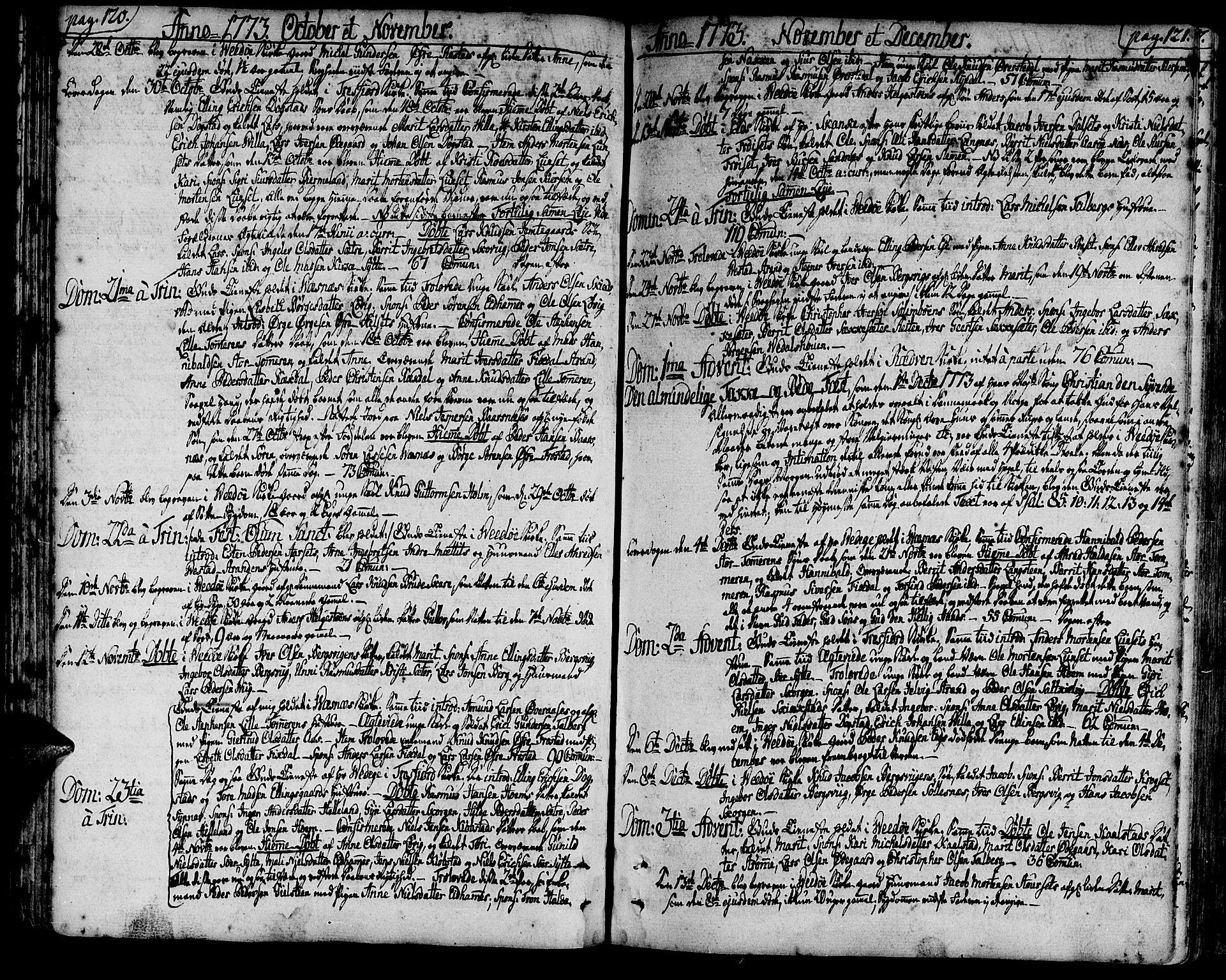 SAT, Ministerialprotokoller, klokkerbøker og fødselsregistre - Møre og Romsdal, 547/L0600: Ministerialbok nr. 547A02, 1765-1799, s. 120-121