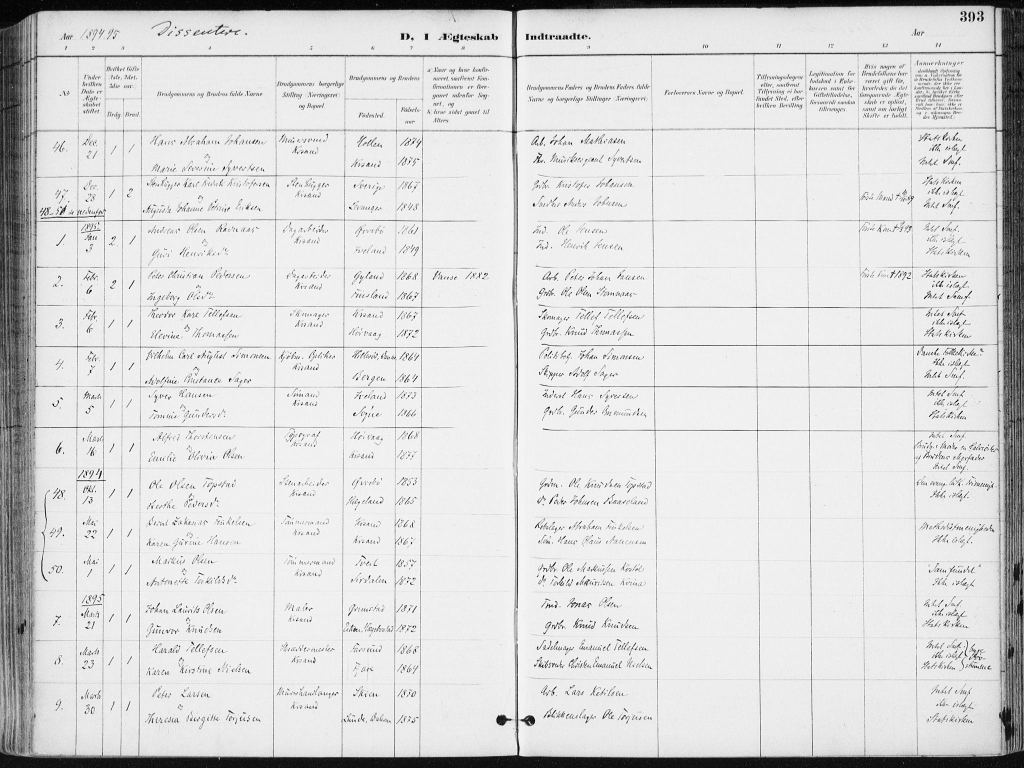 SAK, Kristiansand domprosti, F/Fa/L0019: Ministerialbok nr. A 18, 1890-1897, s. 393