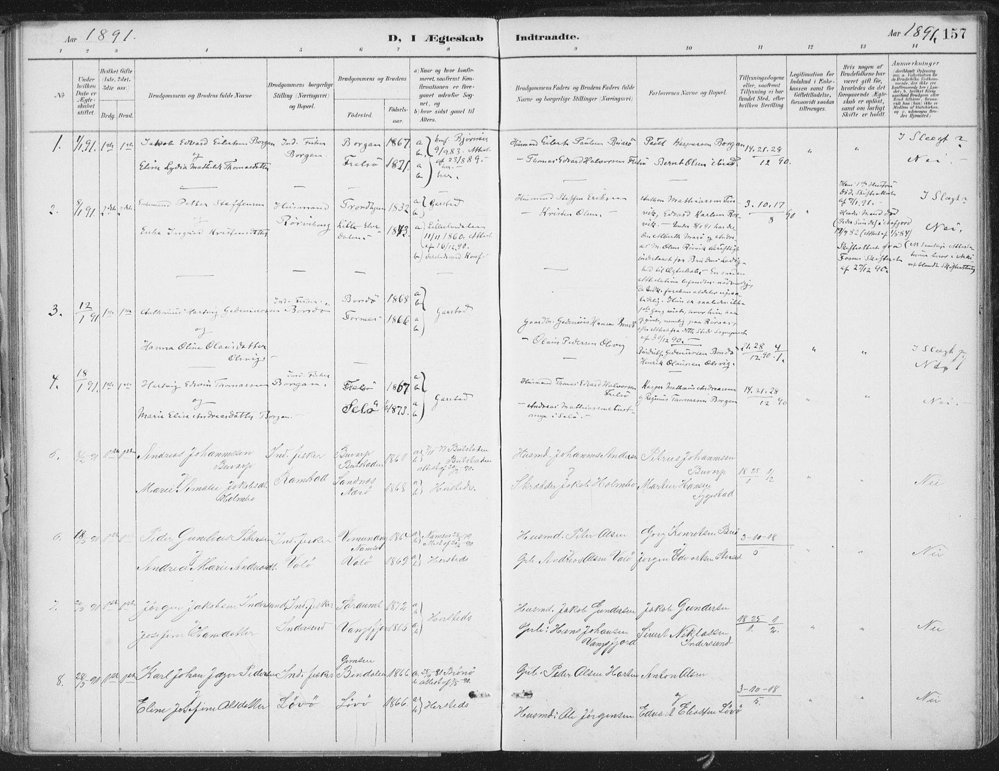 SAT, Ministerialprotokoller, klokkerbøker og fødselsregistre - Nord-Trøndelag, 786/L0687: Ministerialbok nr. 786A03, 1888-1898, s. 157