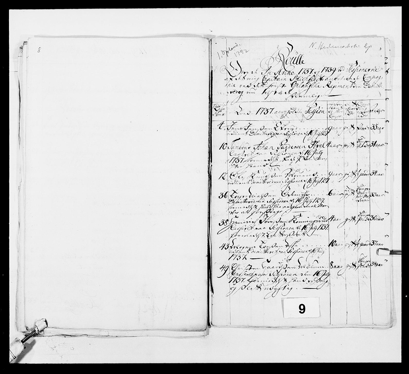 RA, Kommanderende general (KG I) med Det norske krigsdirektorium, E/Ea/L0502: 1. Opplandske regiment, 1720-1743, s. 103