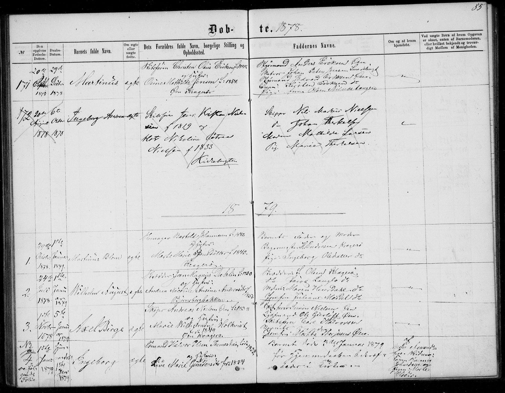 SAKO, Kragerø kirkebøker, G/Ga/L0006: Klokkerbok nr. 6, 1876-1881, s. 55
