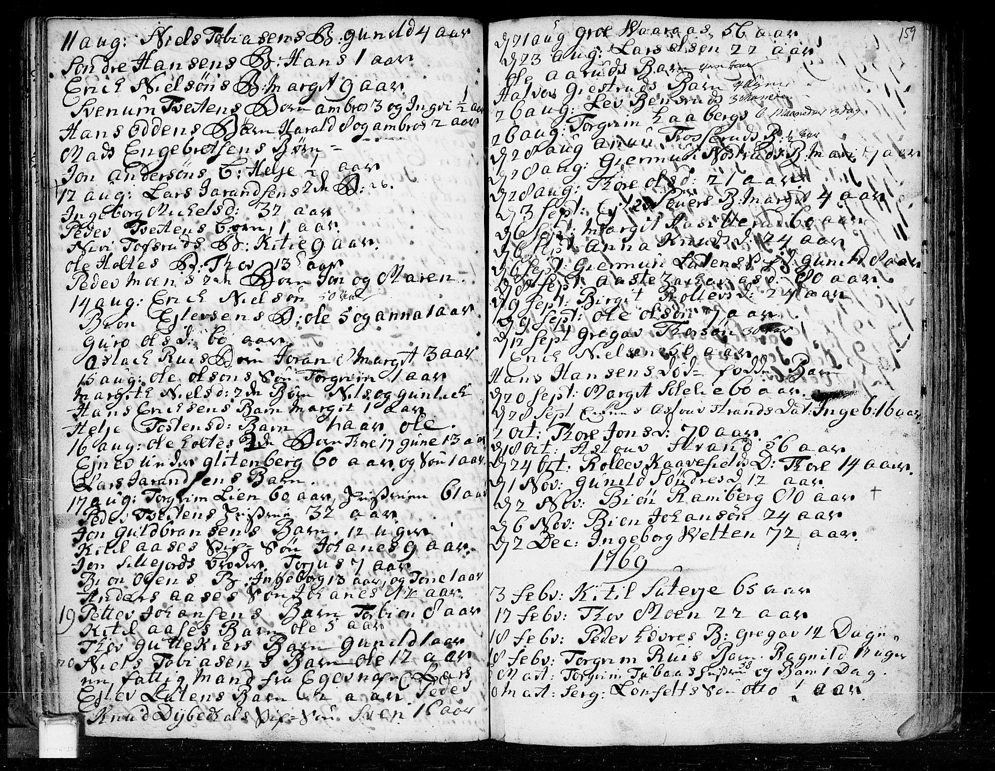 SAKO, Heddal kirkebøker, F/Fa/L0003: Ministerialbok nr. I 3, 1723-1783, s. 159