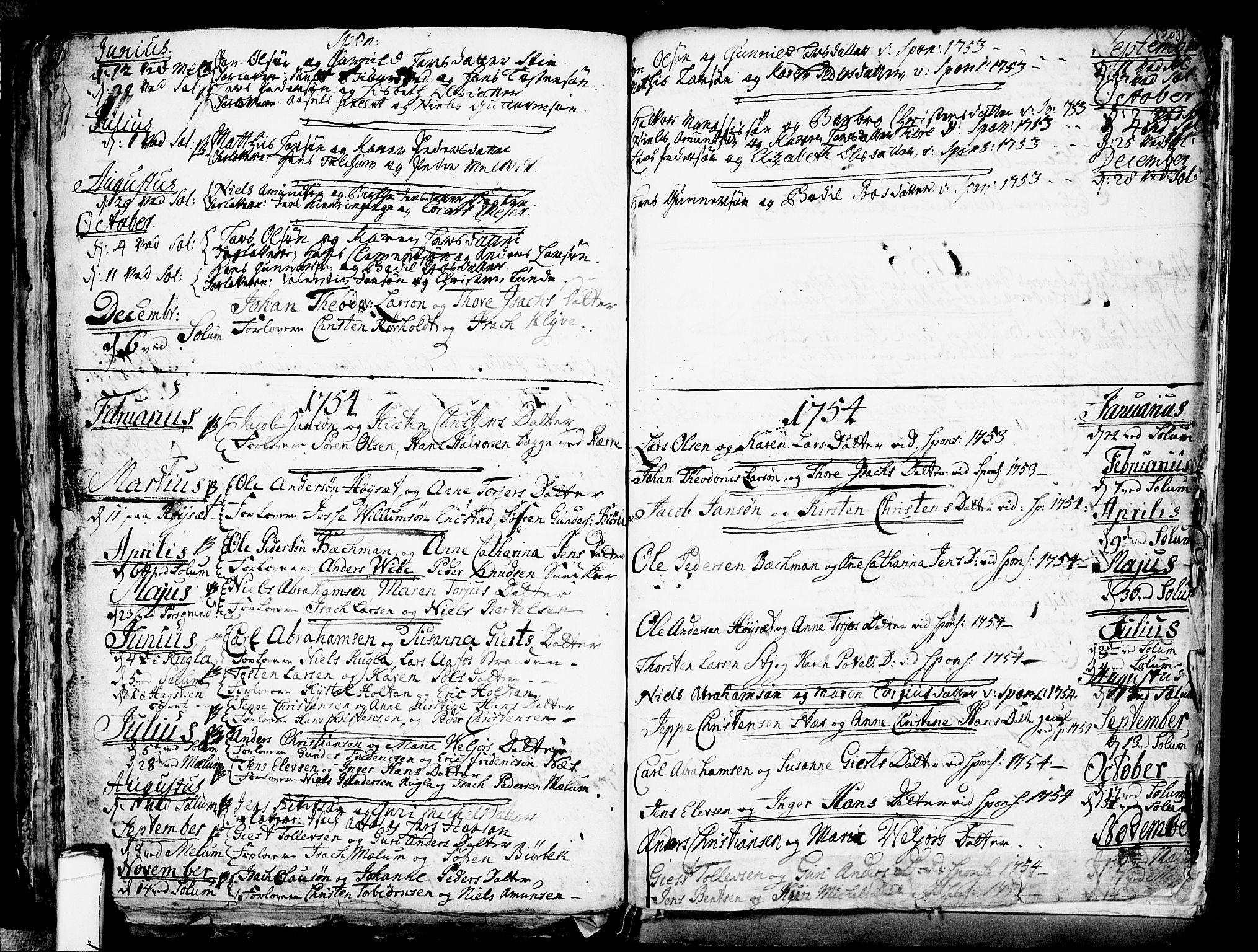 SAKO, Solum kirkebøker, F/Fa/L0002: Ministerialbok nr. I 2, 1713-1761, s. 203