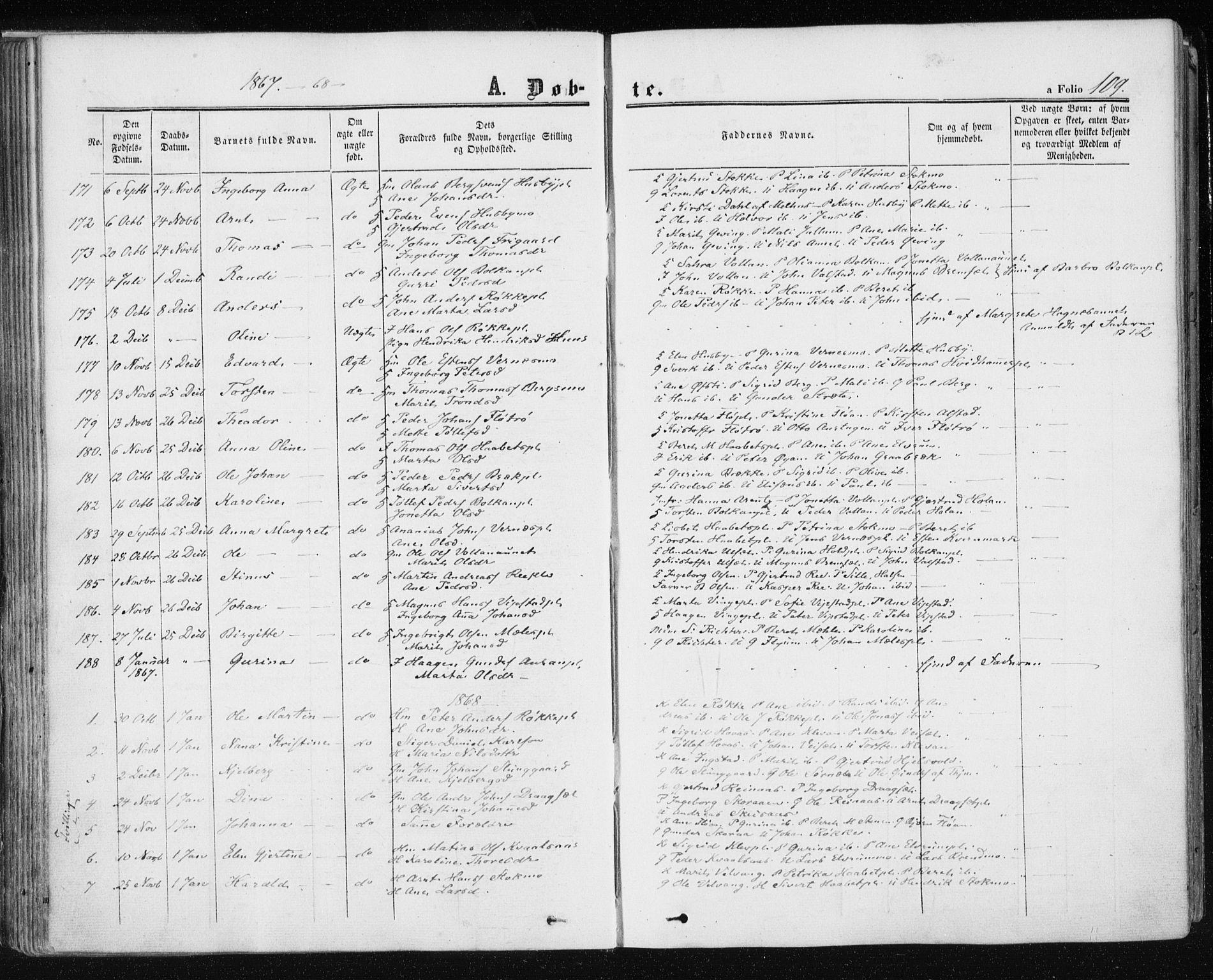 SAT, Ministerialprotokoller, klokkerbøker og fødselsregistre - Nord-Trøndelag, 709/L0075: Ministerialbok nr. 709A15, 1859-1870, s. 109