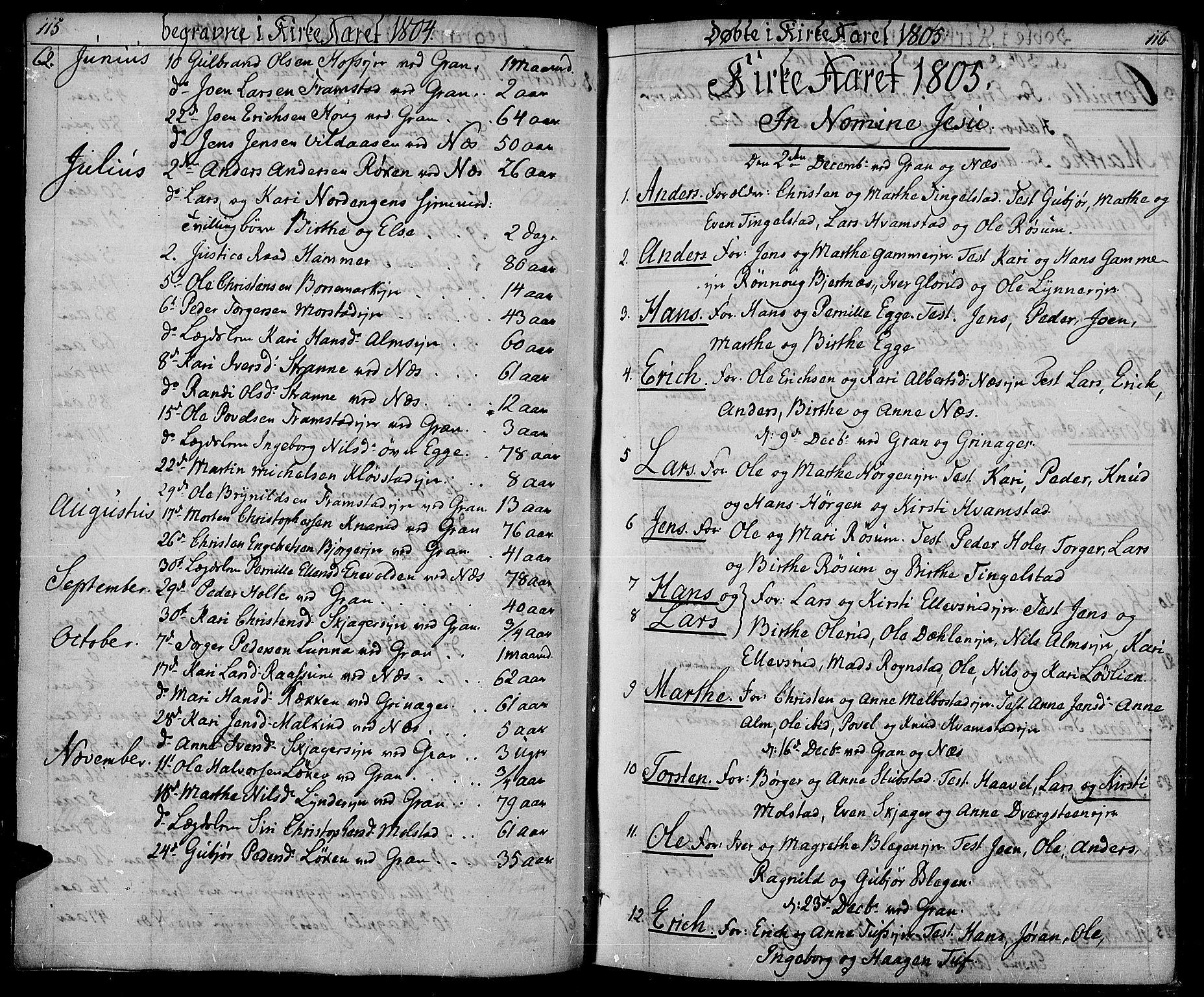 SAH, Gran prestekontor, Ministerialbok nr. 8, 1798-1811, s. 115-116