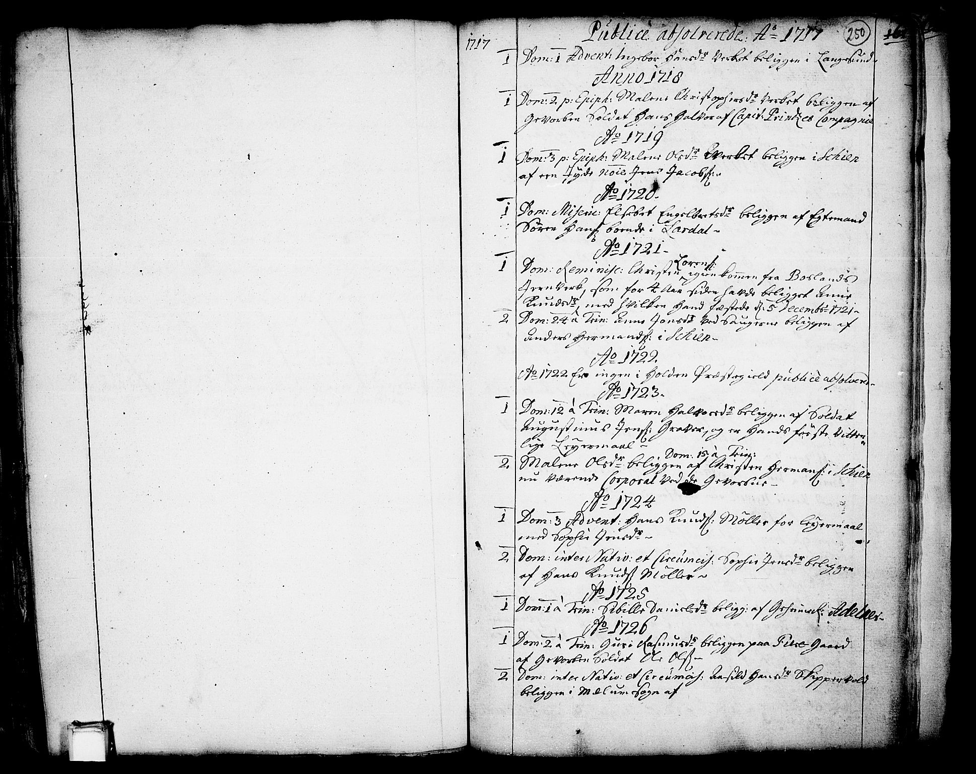 SAKO, Holla kirkebøker, F/Fa/L0001: Ministerialbok nr. 1, 1717-1779, s. 250