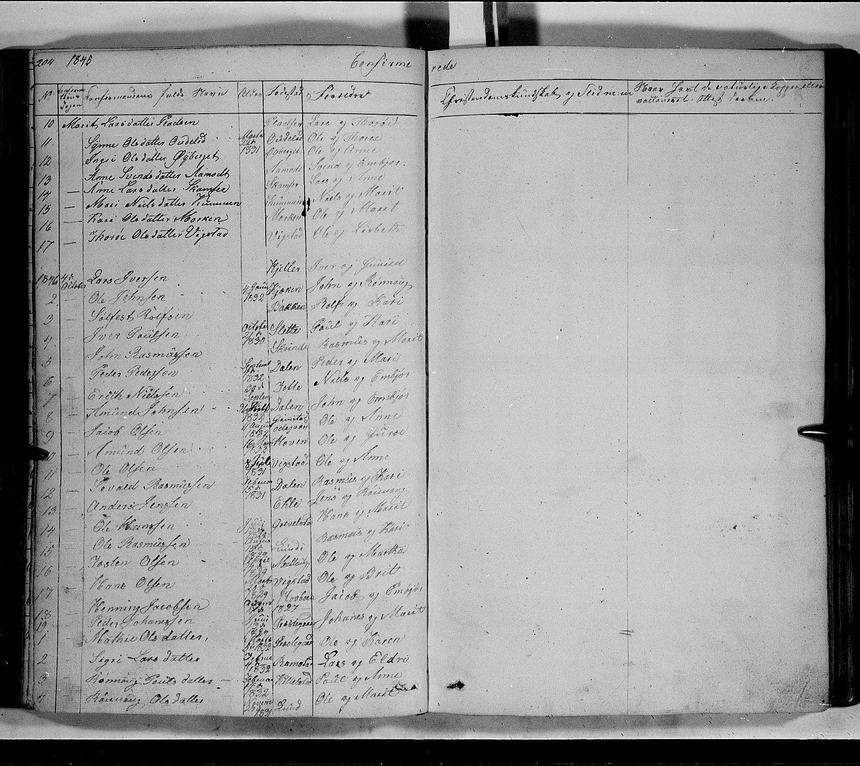 SAH, Lom prestekontor, L/L0004: Klokkerbok nr. 4, 1845-1864, s. 204-205