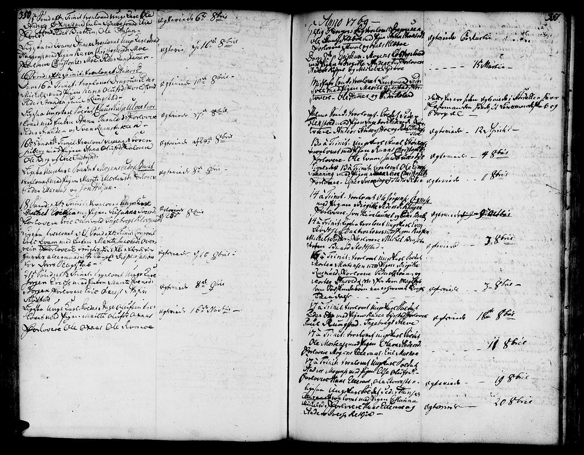 SAT, Ministerialprotokoller, klokkerbøker og fødselsregistre - Nord-Trøndelag, 746/L0440: Ministerialbok nr. 746A02, 1760-1815, s. 350-351