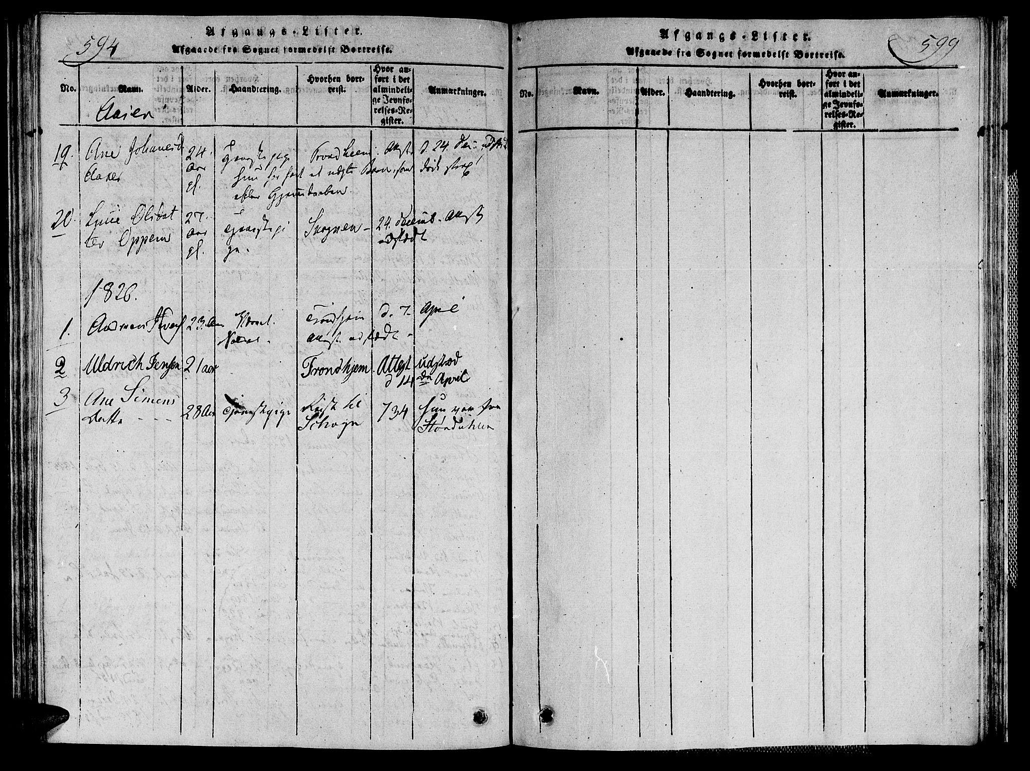 SAT, Ministerialprotokoller, klokkerbøker og fødselsregistre - Nord-Trøndelag, 713/L0112: Ministerialbok nr. 713A04 /2, 1817-1827, s. 594-599