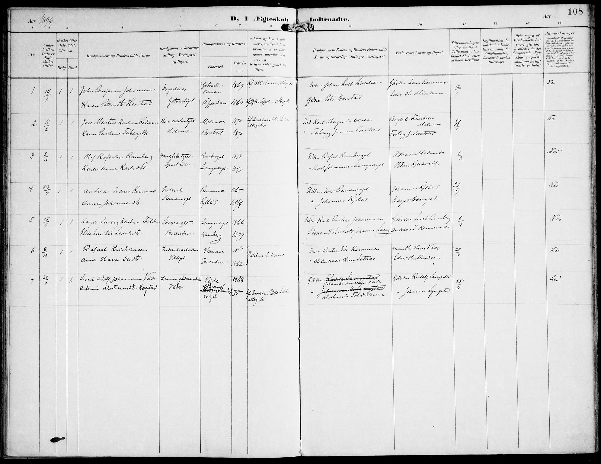 SAT, Ministerialprotokoller, klokkerbøker og fødselsregistre - Nord-Trøndelag, 745/L0430: Ministerialbok nr. 745A02, 1895-1913, s. 108