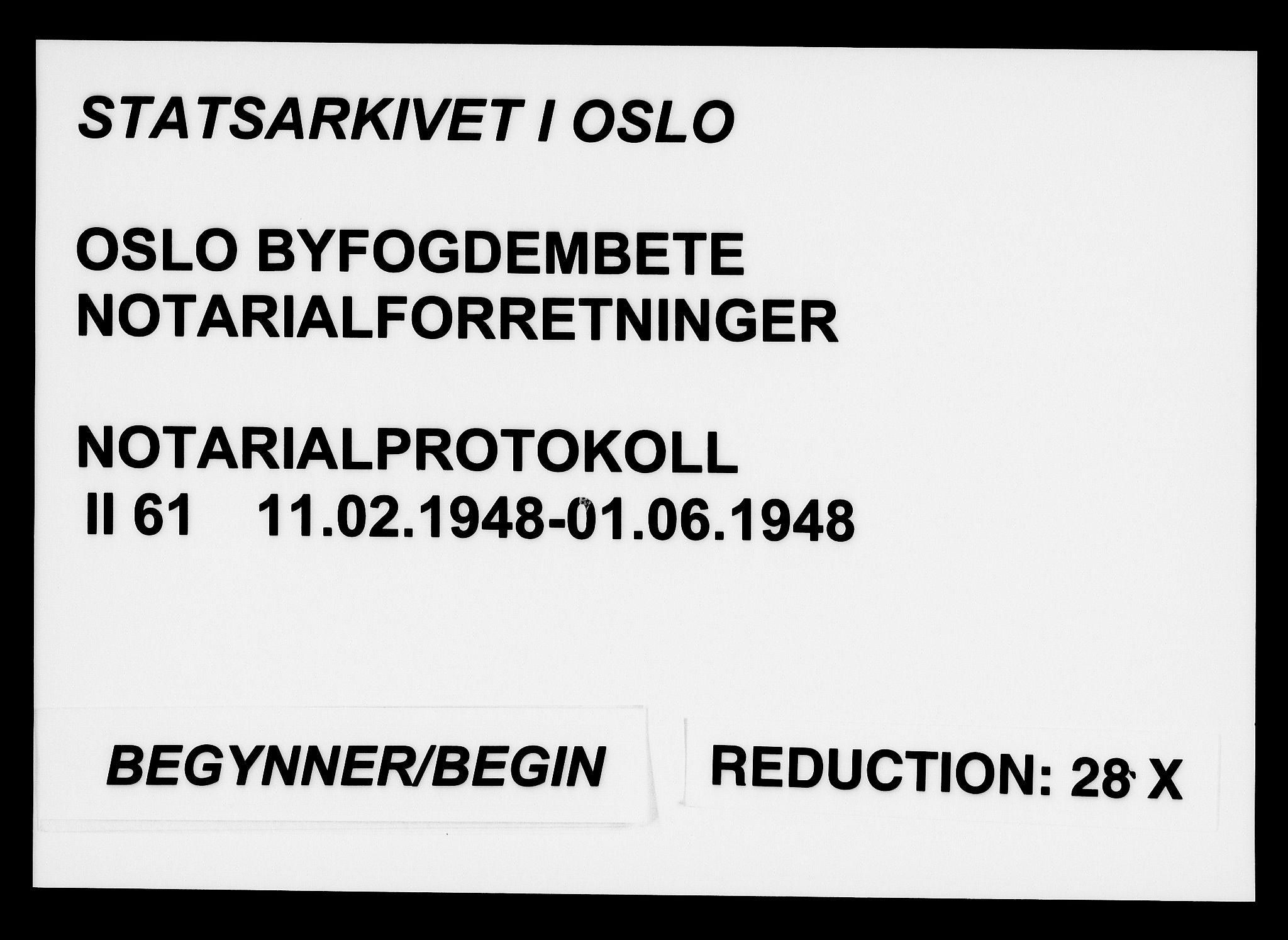 SAO, Oslo byfogd avd. I, L/Lb/Lbb/L0061: Notarialprotokoll, rekke II: Vigsler, 1948, s. upaginert
