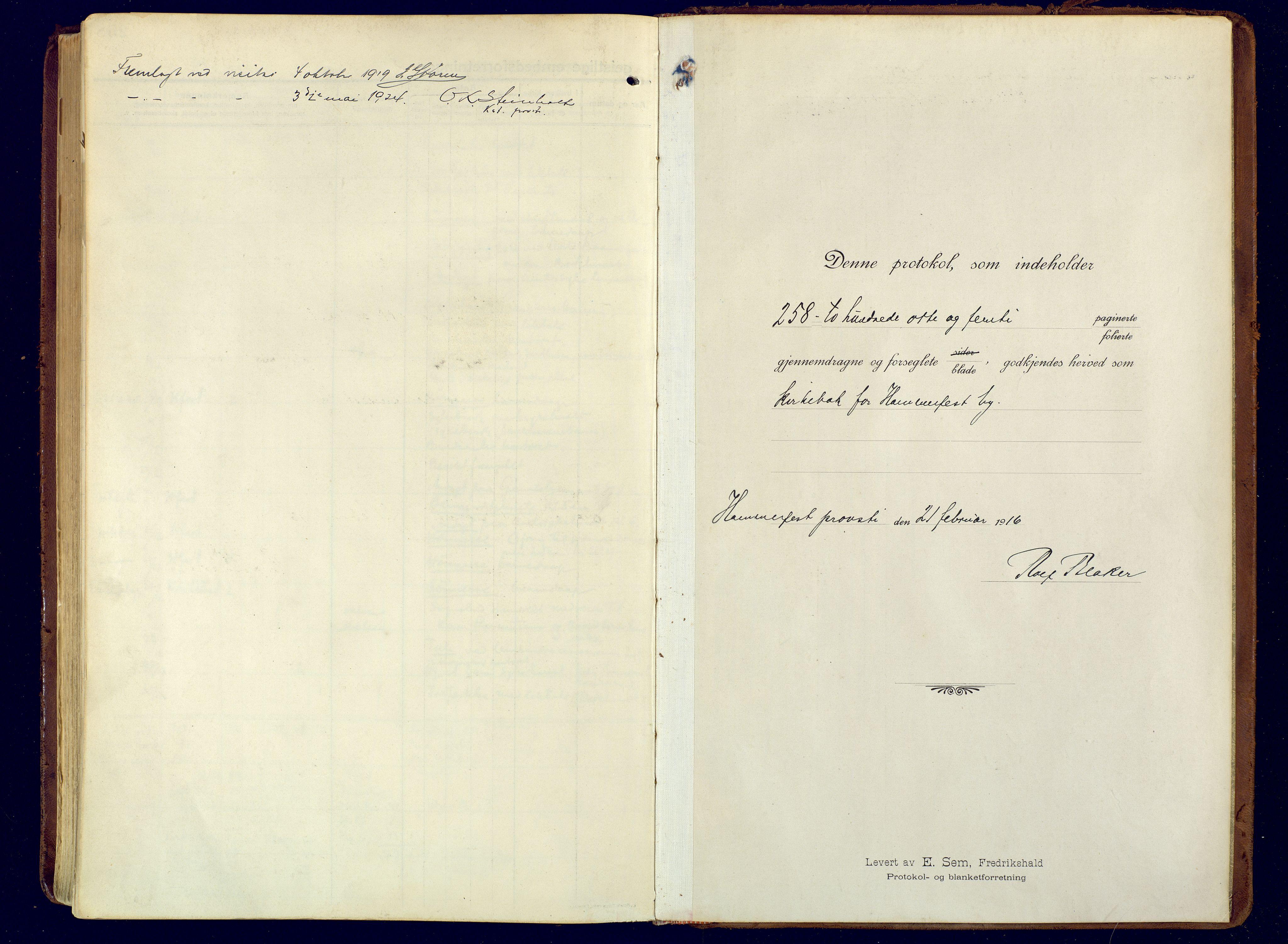 SATØ, Hammerfest sokneprestembete, Ministerialbok nr. 15, 1916-1923