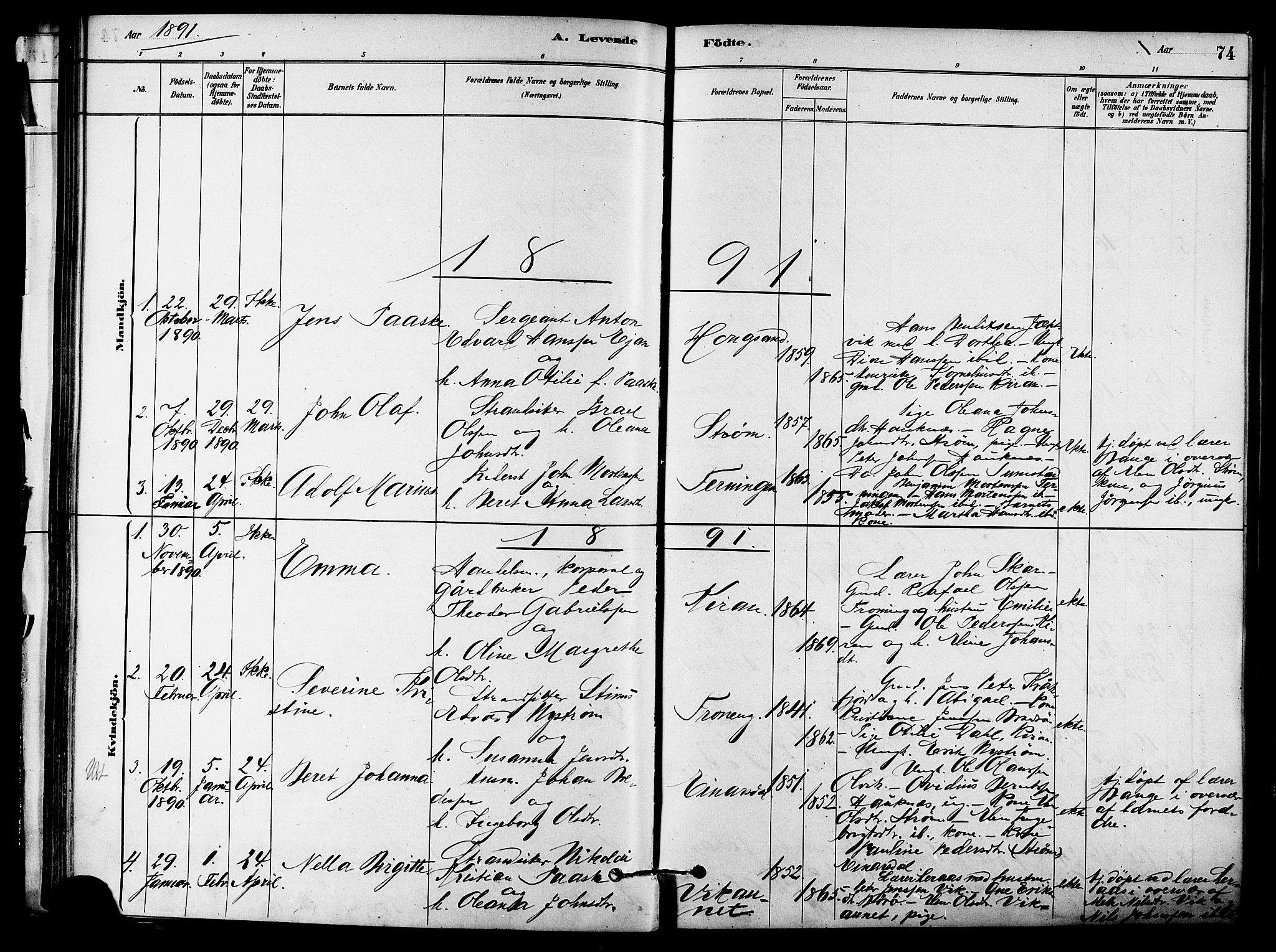 SAT, Ministerialprotokoller, klokkerbøker og fødselsregistre - Sør-Trøndelag, 657/L0707: Ministerialbok nr. 657A08, 1879-1893, s. 74