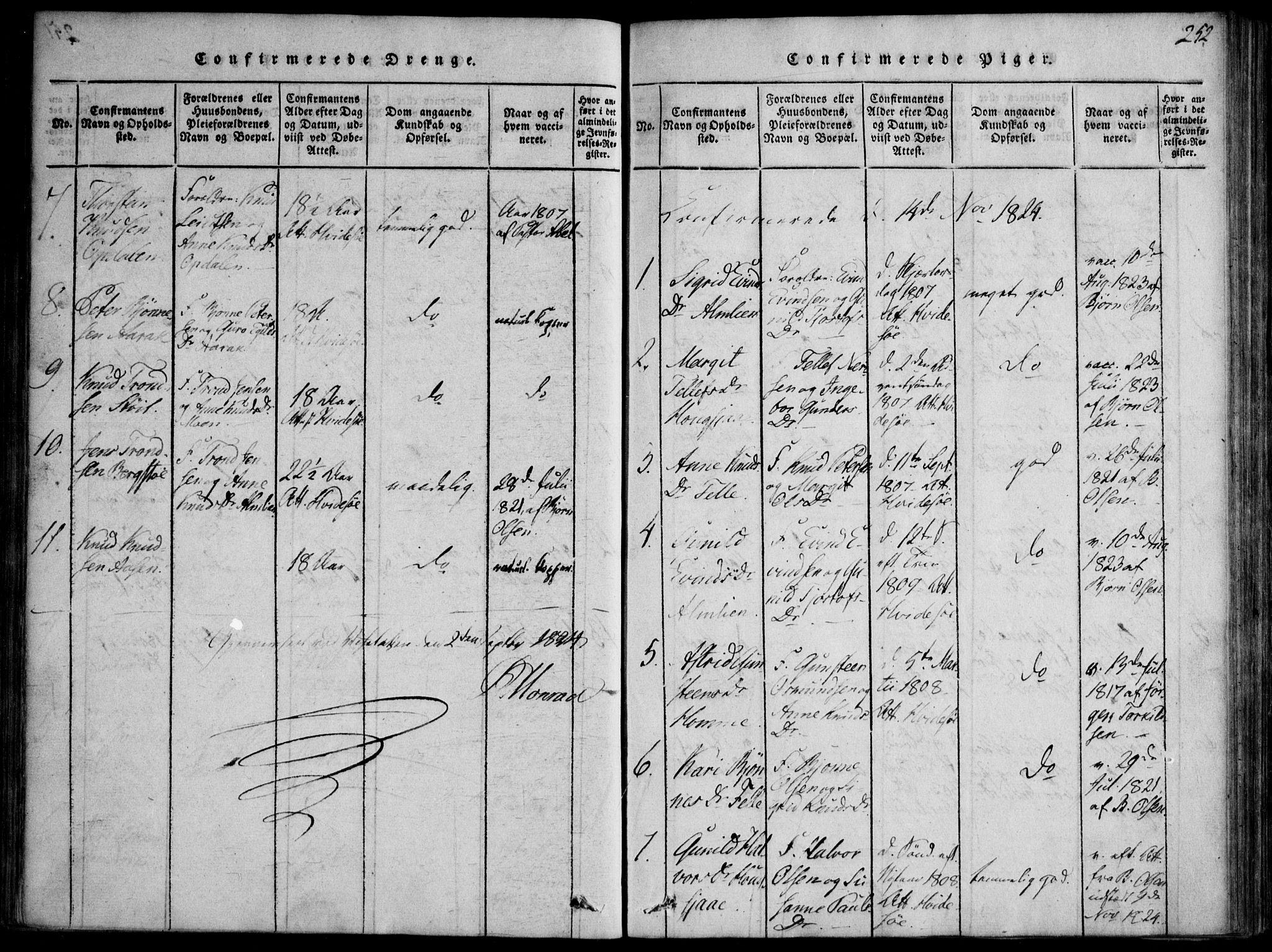 SAKO, Nissedal kirkebøker, F/Fb/L0001: Ministerialbok nr. II 1, 1814-1845, s. 252