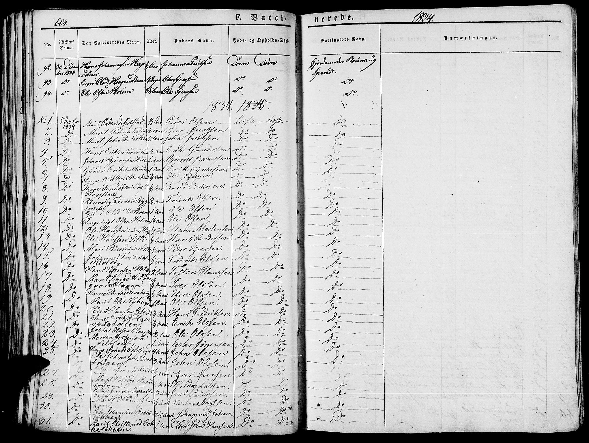 SAH, Lesja prestekontor, Ministerialbok nr. 5, 1830-1842, s. 604