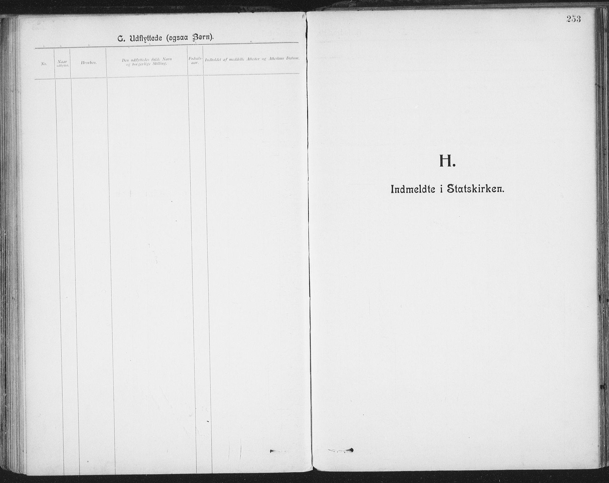 SAT, Ministerialprotokoller, klokkerbøker og fødselsregistre - Nordland, 801/L0012: Ministerialbok nr. 801A12, 1900-1916, s. 253