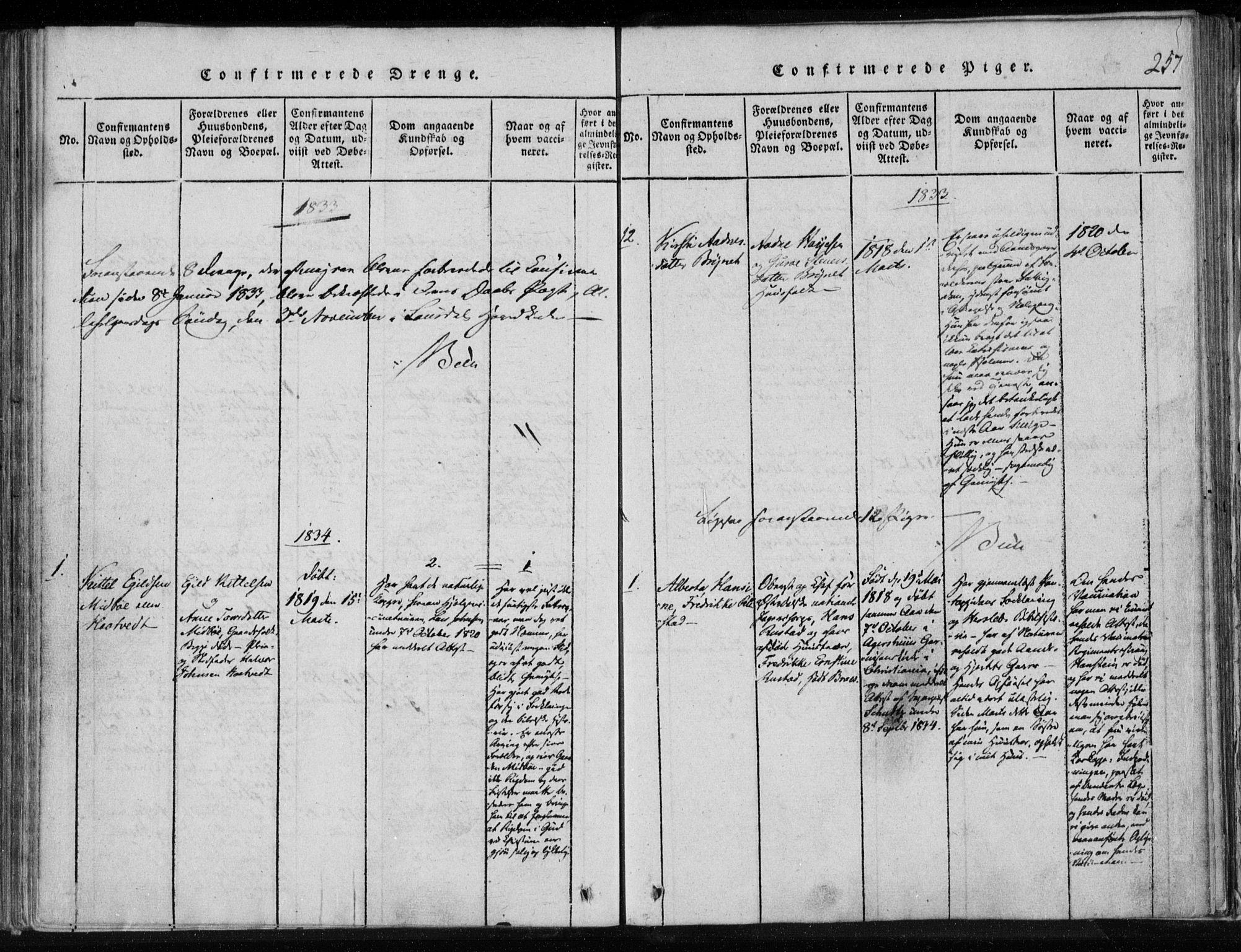 SAKO, Lårdal kirkebøker, F/Fa/L0005: Ministerialbok nr. I 5, 1815-1860, s. 257