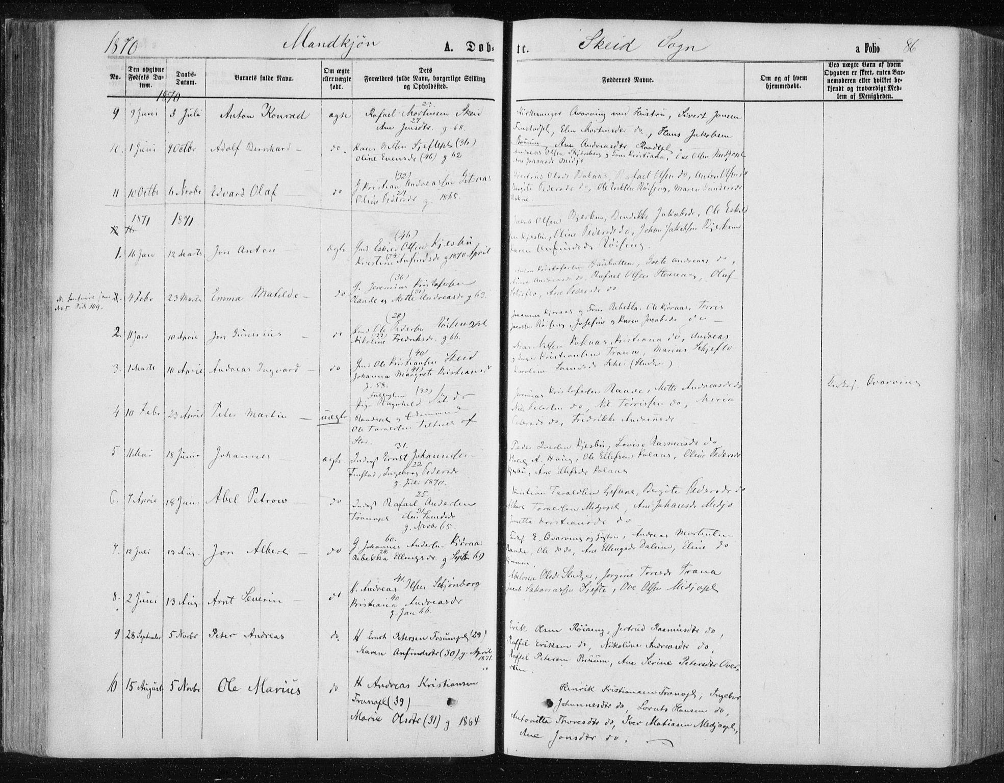 SAT, Ministerialprotokoller, klokkerbøker og fødselsregistre - Nord-Trøndelag, 735/L0345: Ministerialbok nr. 735A08 /2, 1863-1872, s. 86